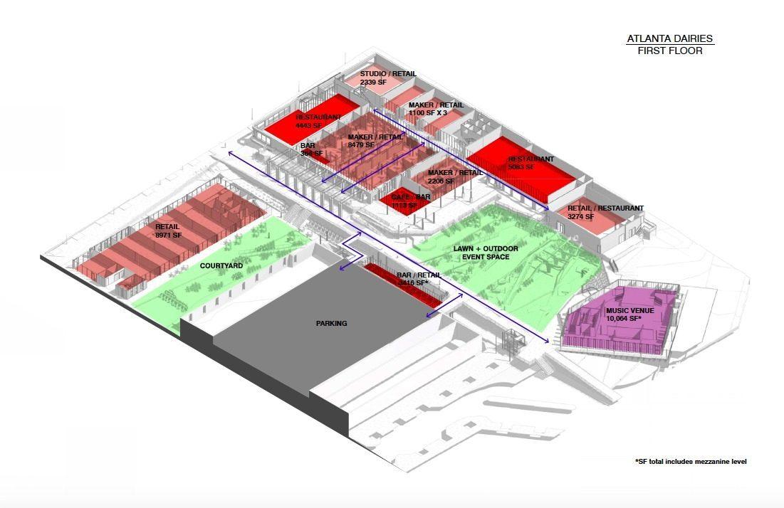 [First-floor retail, lawn, courtyard, etc. Renderings: Paces Properties.]