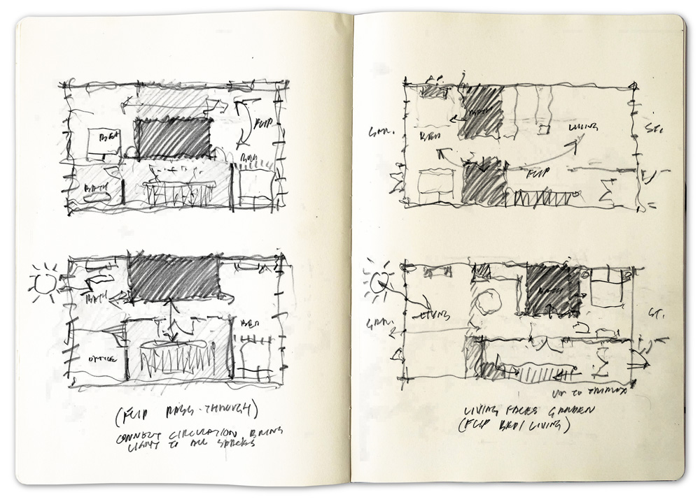 Sketches for Prospect Heights brownstone renovation, courtesy of Buck Projects.