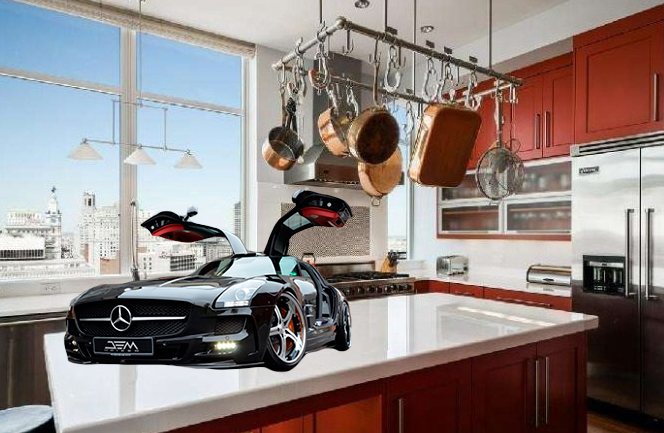 Yeah, no. This is not the actual Mercedes. But it is the actual kitchen.