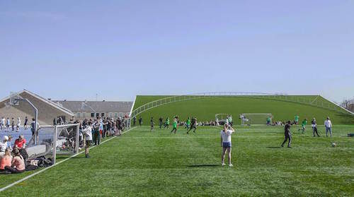 The school's sports field now extends over the roof of the new arts building. Image by Rasmus Hjortshoj