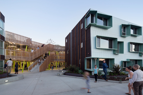 The <strong>Broadway Affordable Housing Project</strong> in Santa Monica, California, repurposed a vacant nursing home and created a dense yet light-filled complex where every unit faces the central courtyard and has access to natural light. Photo c