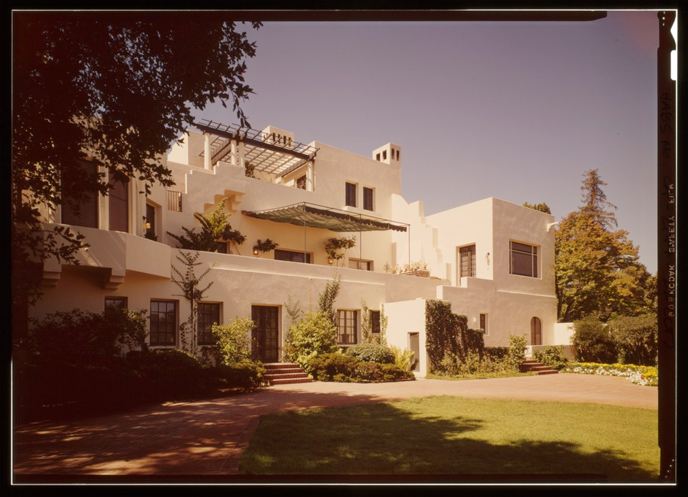 """The Lou Henry Hoover House at Stanford, via <a href=""""http://commons.wikimedia.org/wiki/File:CLOSER_VIEW_FROM_THE_EAST_-_Lou_Henry_Hoover_House,_San_Juan_Hill,_Stanford,_Santa_Clara_County,_CA_HABS_CAL,43-STANF,7-22_%28CT%29.tif"""">Wikimedia Commons</a"""