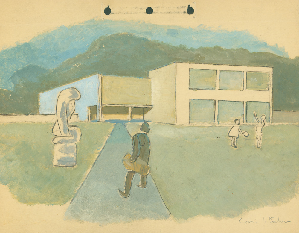 One of Kahn's sketches for Jersey Homesteads. Image courtesy of the Louis I. Kahn Collection, The University of Pennsylvania and the Pennsylvania Historical and Museum Commission.