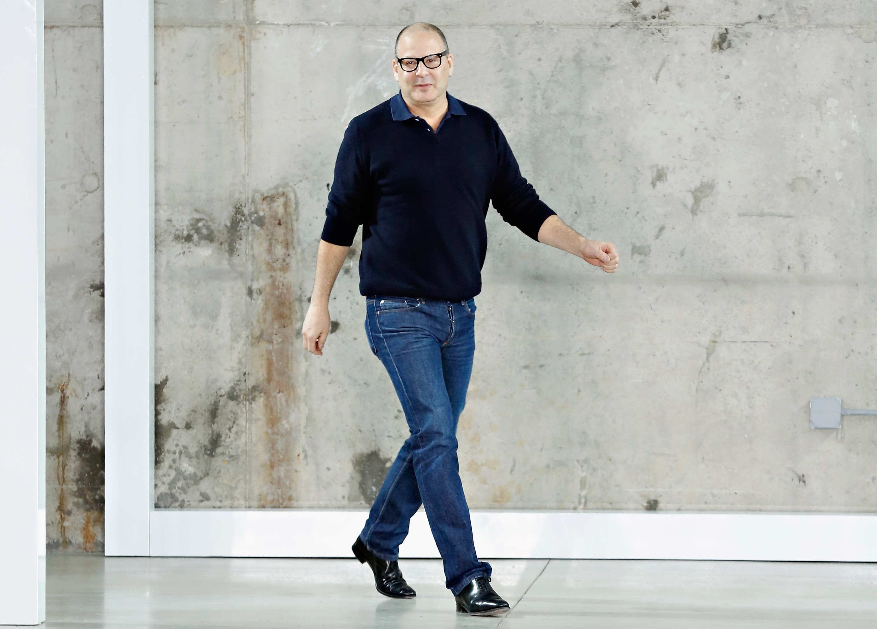 Reed Krakoff takes a bow during his fall 2014 presentation