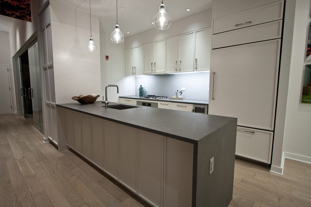 The cabinetry, fridge, and dishwasher are customized.