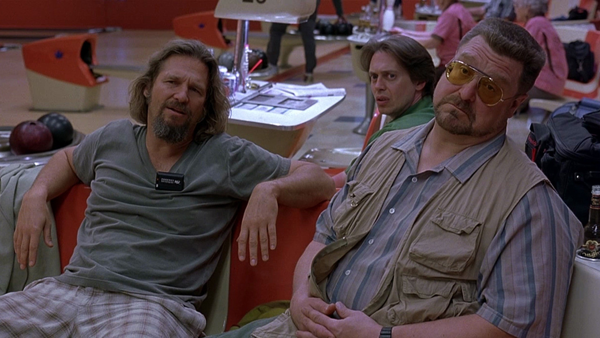 """The film's central trio, at the now-demolished Hollywood Star Lanes. Screenshot via <a href=""""http://drafthouse.com/movies/biglebowskiquotealong/austin"""">Drafthouse</a>"""