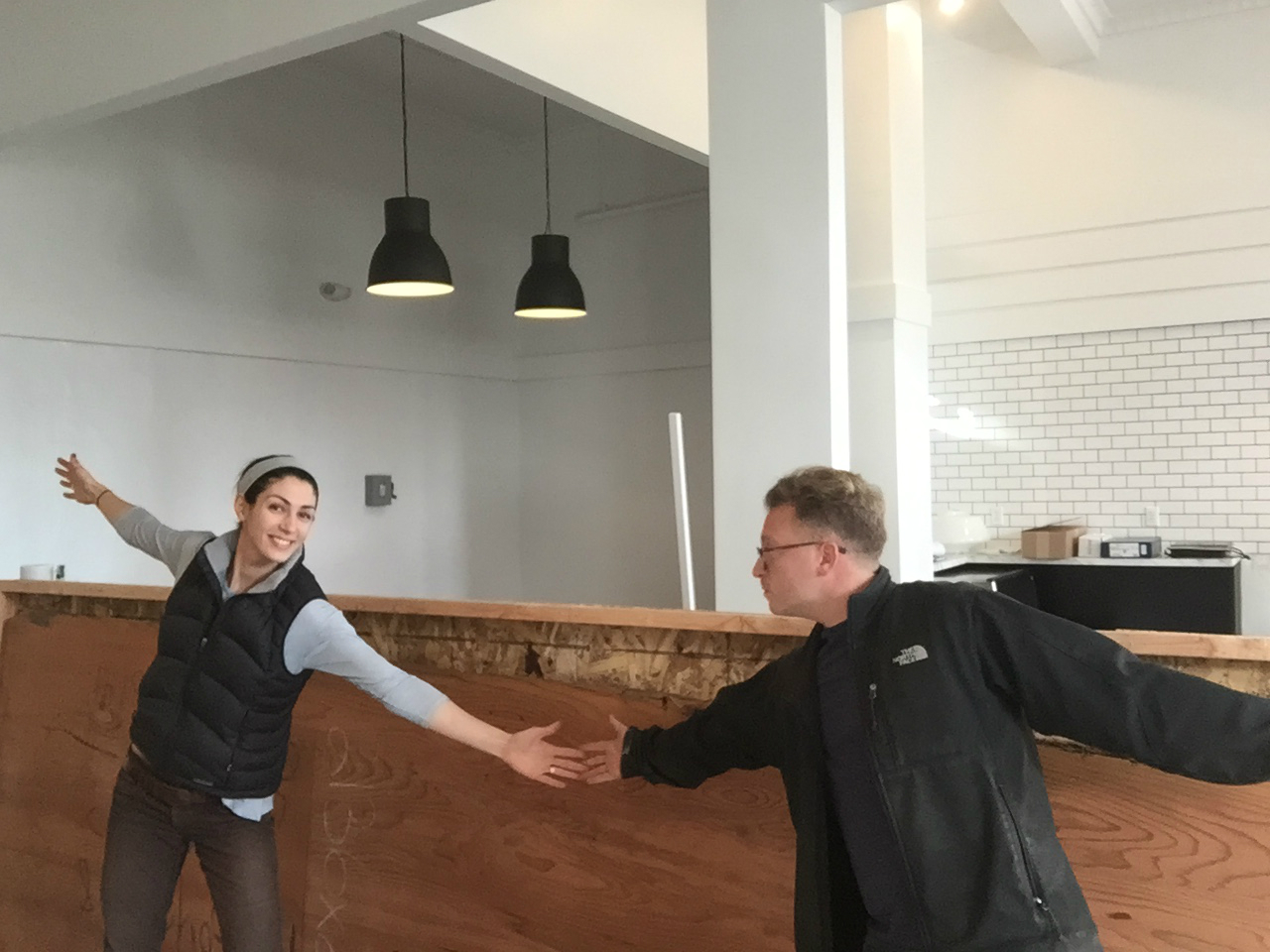 Katrina and Josh in their nearly finished restaurant.