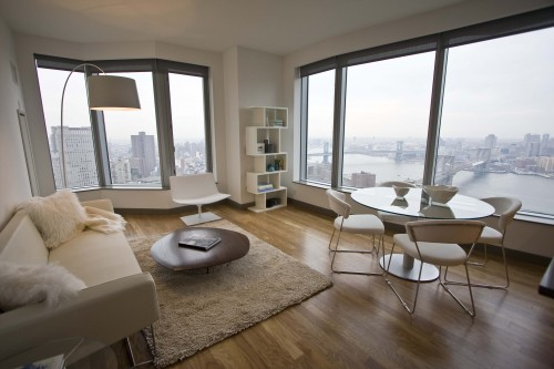 Inside a 36th-floor one-bedroom model unit.