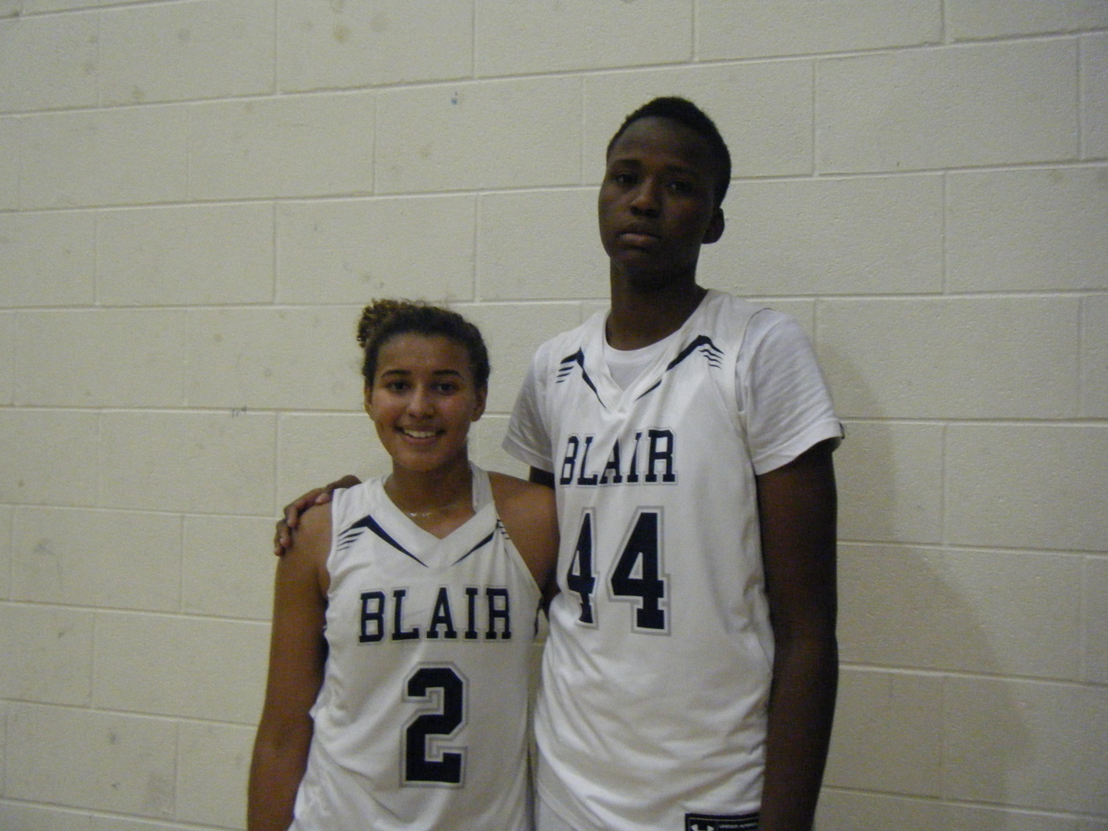 Andra Espinoza-Hunter and Felicia Aiyeotan of Blair Academy