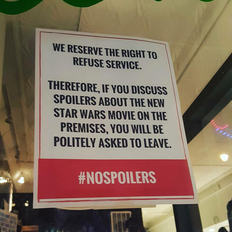 """Geek Bar isn't tolerating """"Star Wars"""" spoilers."""