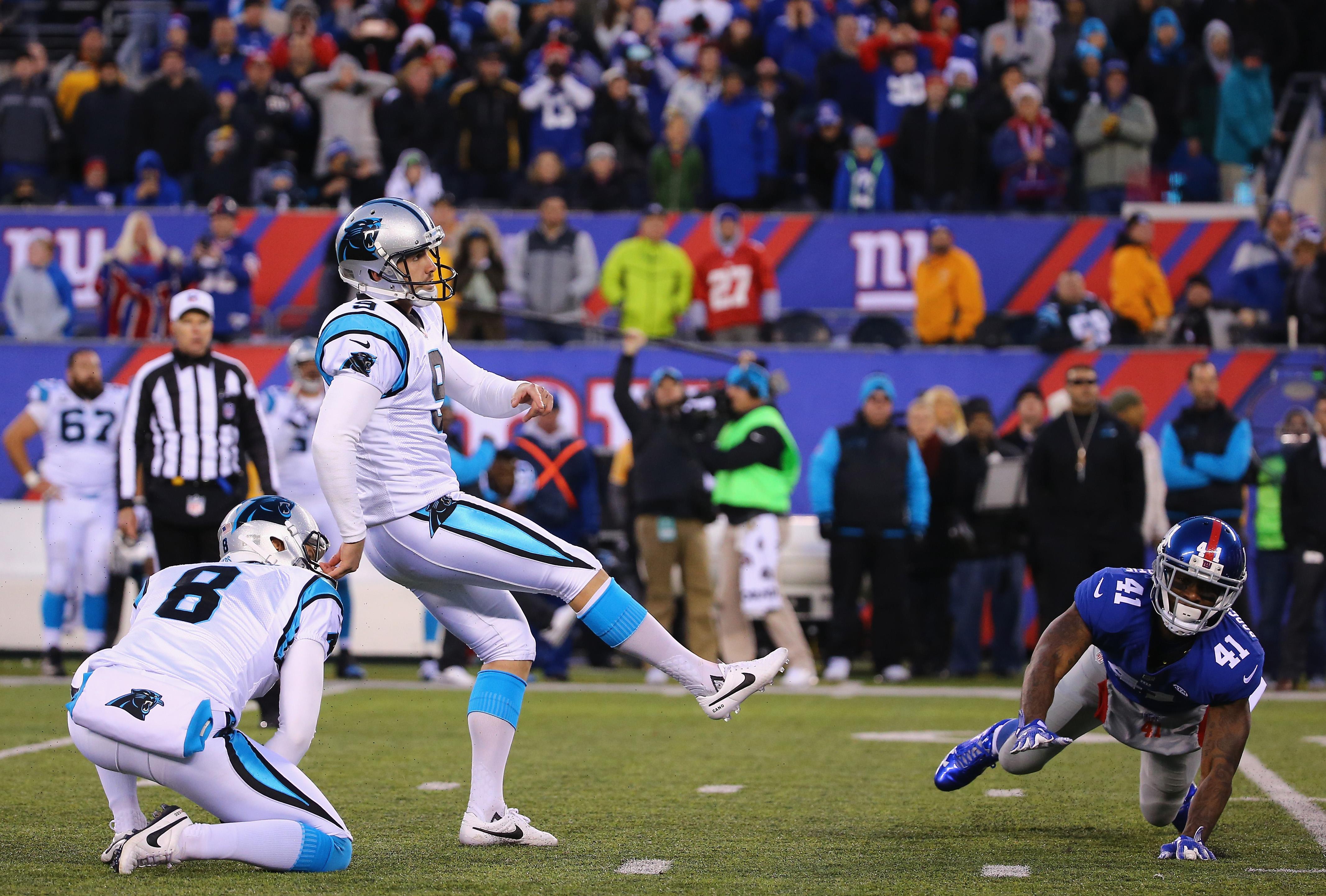 Graham Gano of Carolina hits the game-winning field goal on Sunday
