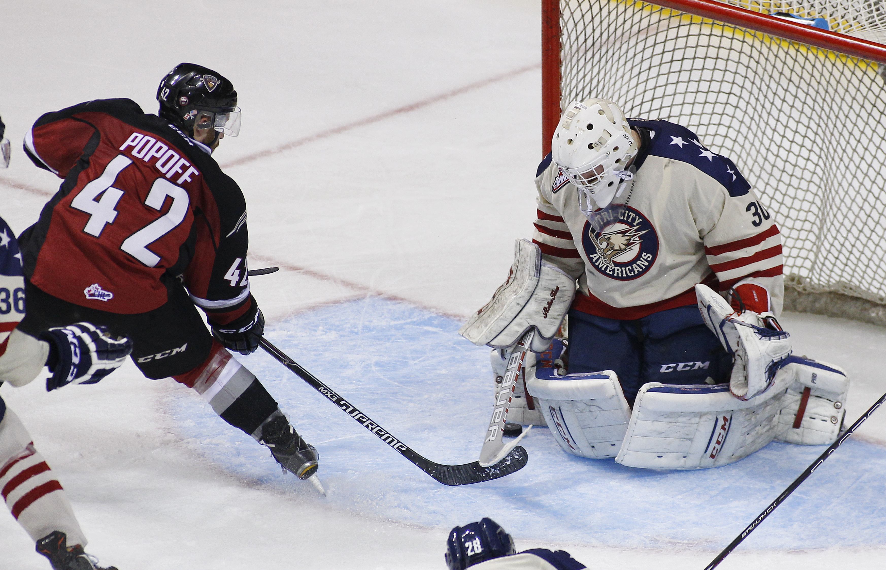 Goaltender Nick Sanders picked up his second win of the season Friday against Seattle. It was Sanders' first start in goal since November 1st.