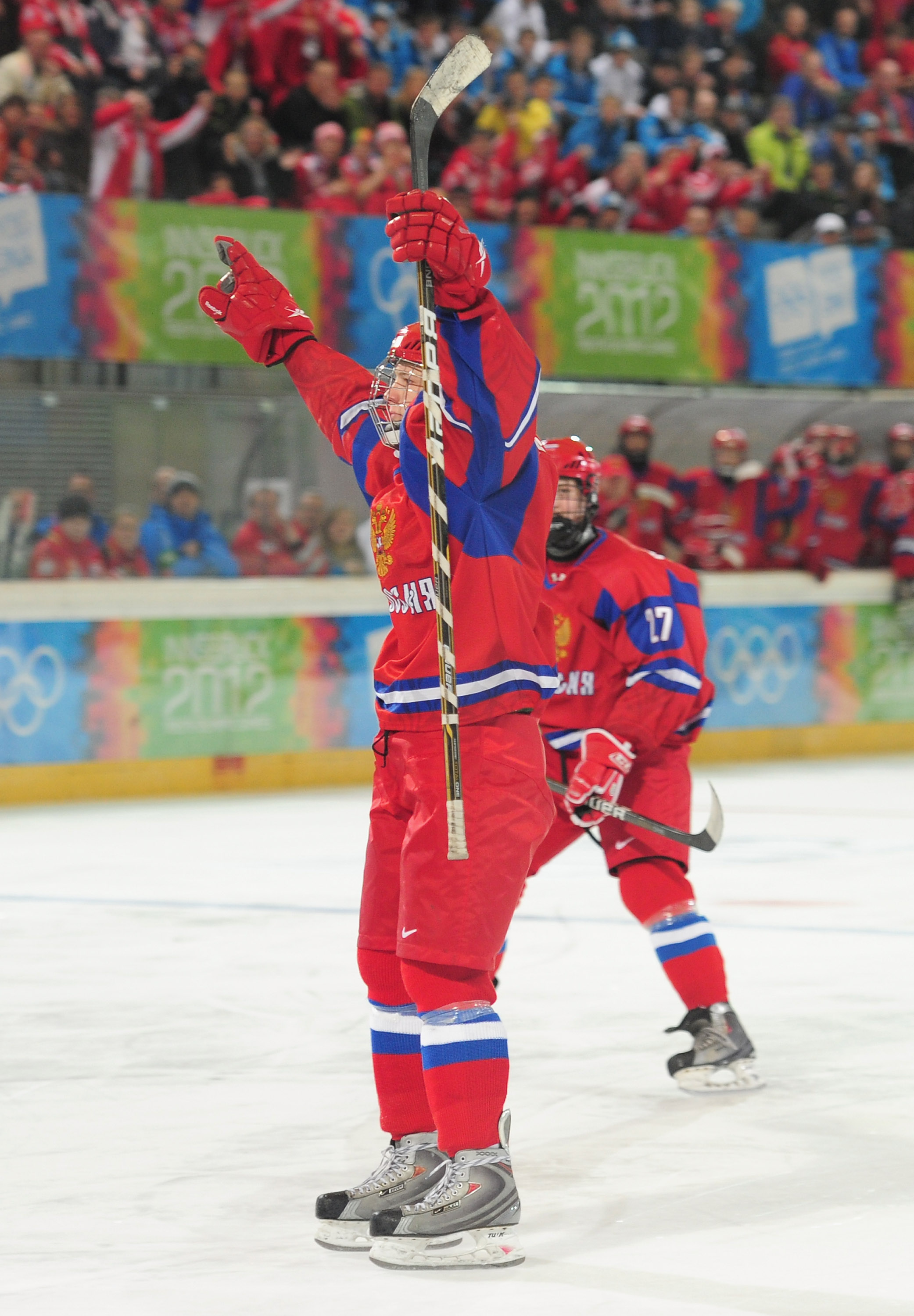 Evgeny Svechnikov of Russia celebrtaes after scoring during the men's semi final ice hockey match between USA and Russiaon January 20, 2012