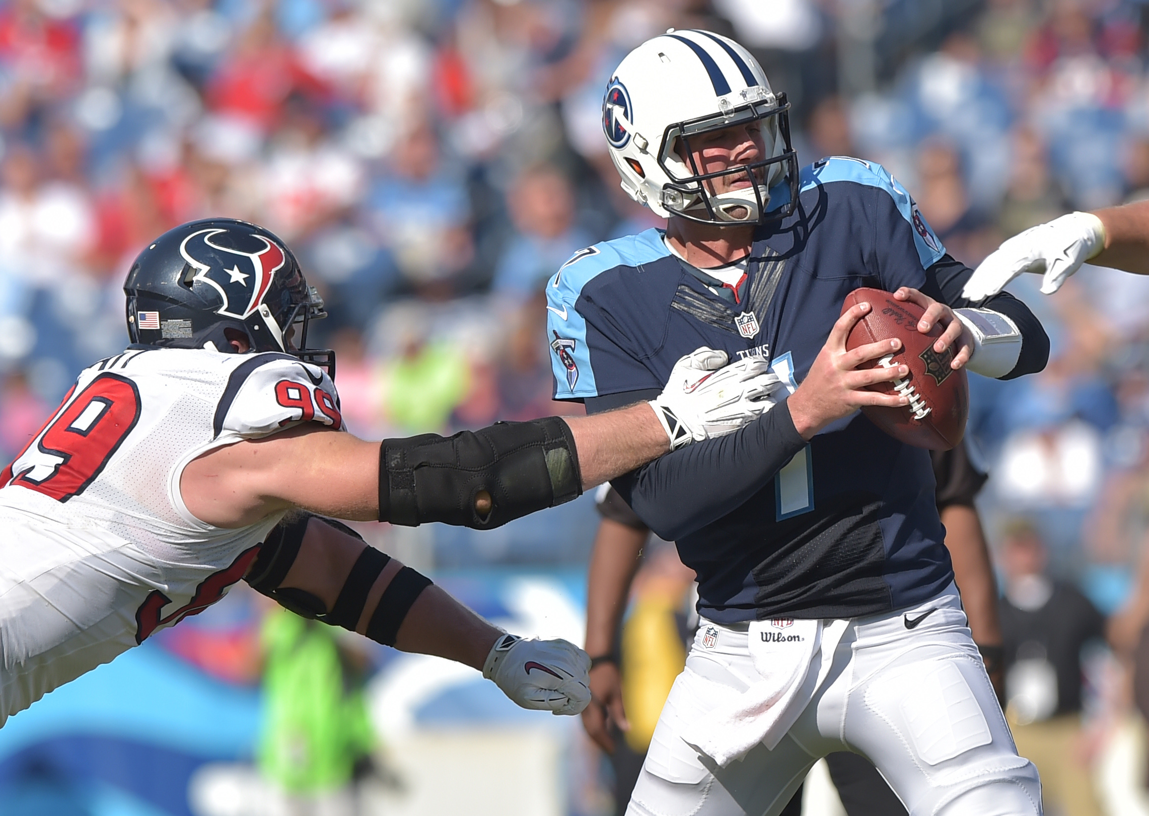 I tried to find a picture of Mett playing the Texans and NOT being assaulted by our defense, but the state of his offensive line makes that impossible.