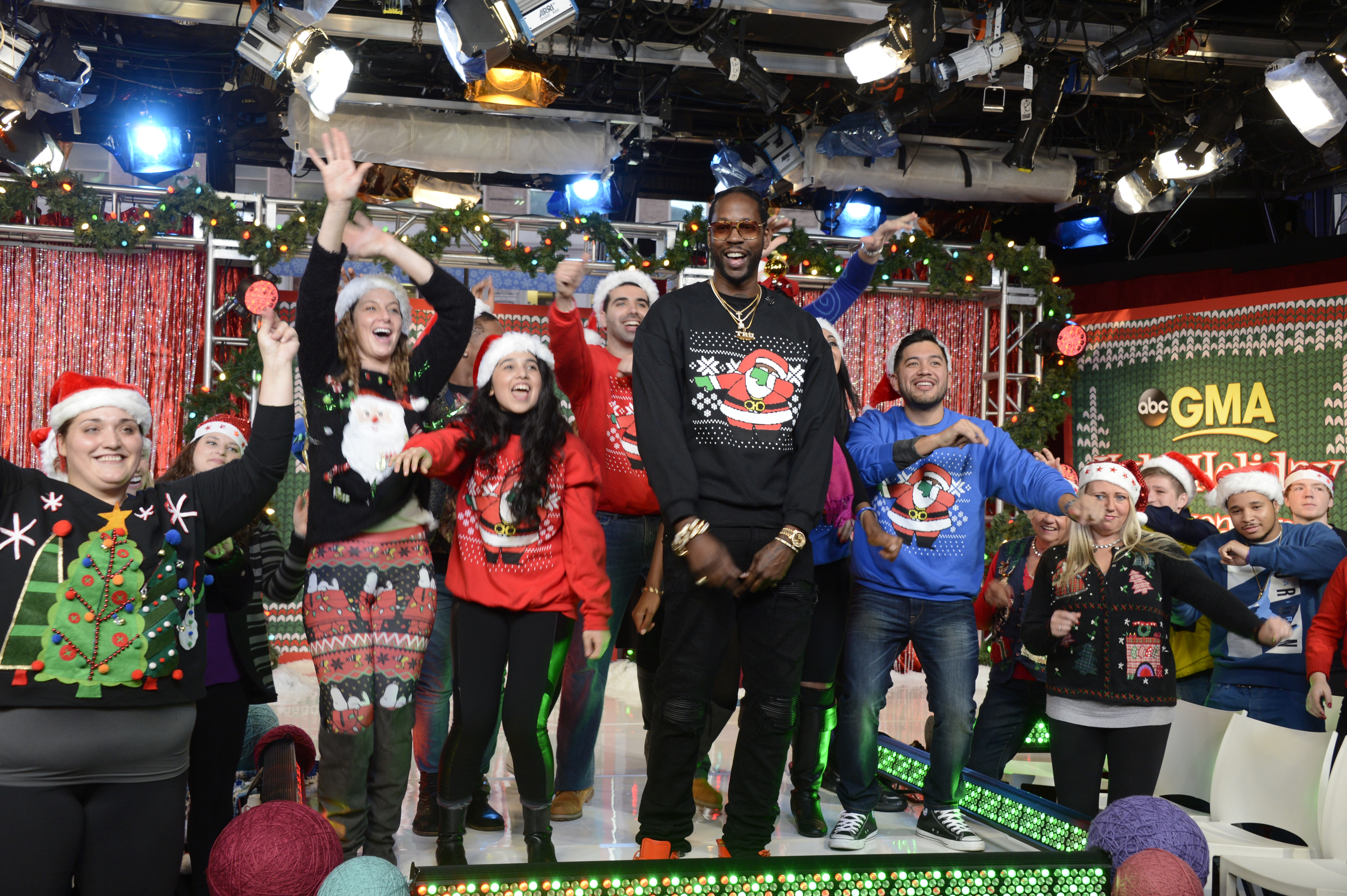 2 Chainz hosts Good Morning America's annual Ugly Sweater Contest.