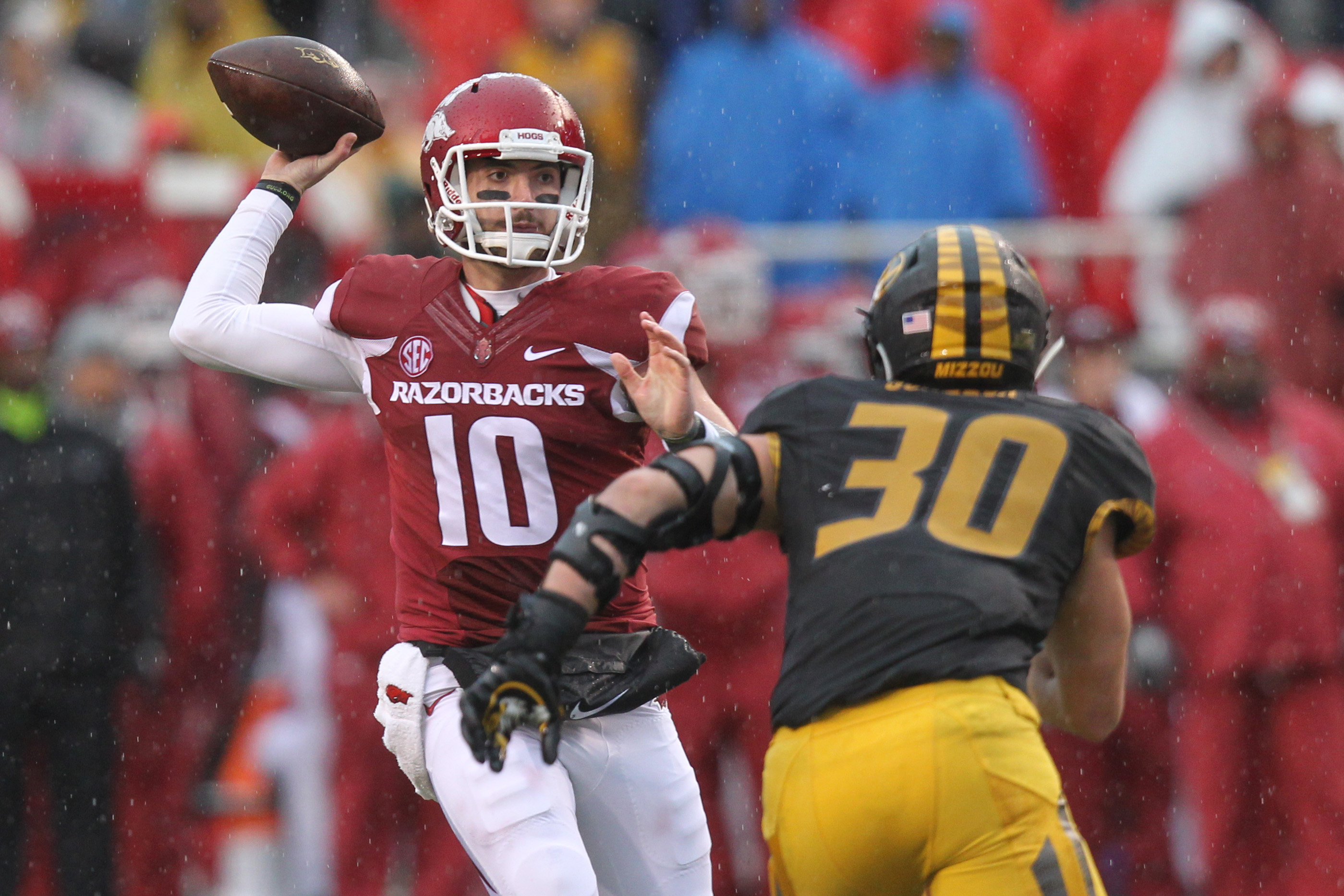 Doc says this guy in November looked like the best quarterback to ever play for Arkansas. Uh-oh.
