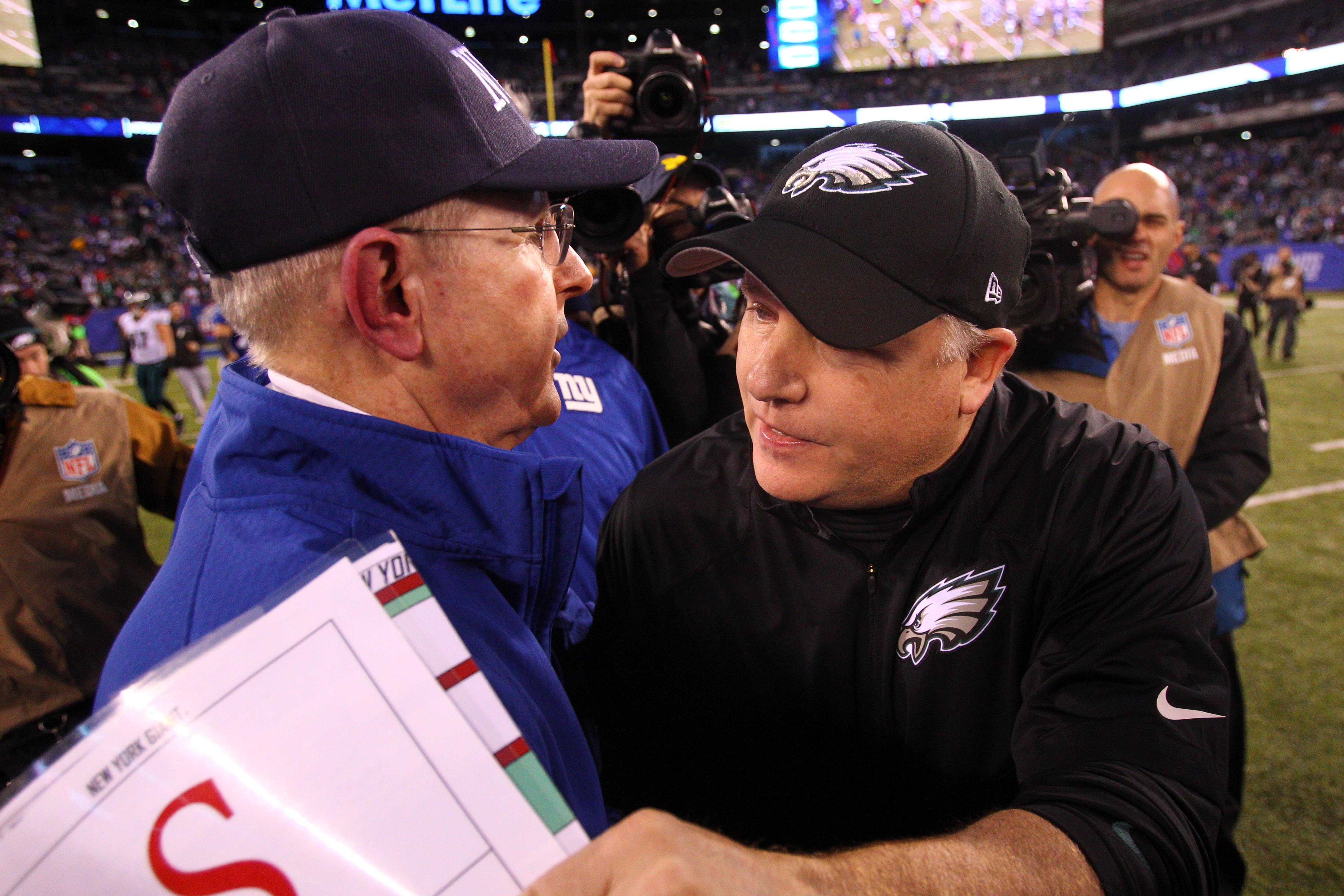 Tom Coughlin and ex-Eagles coach Chip Kelly