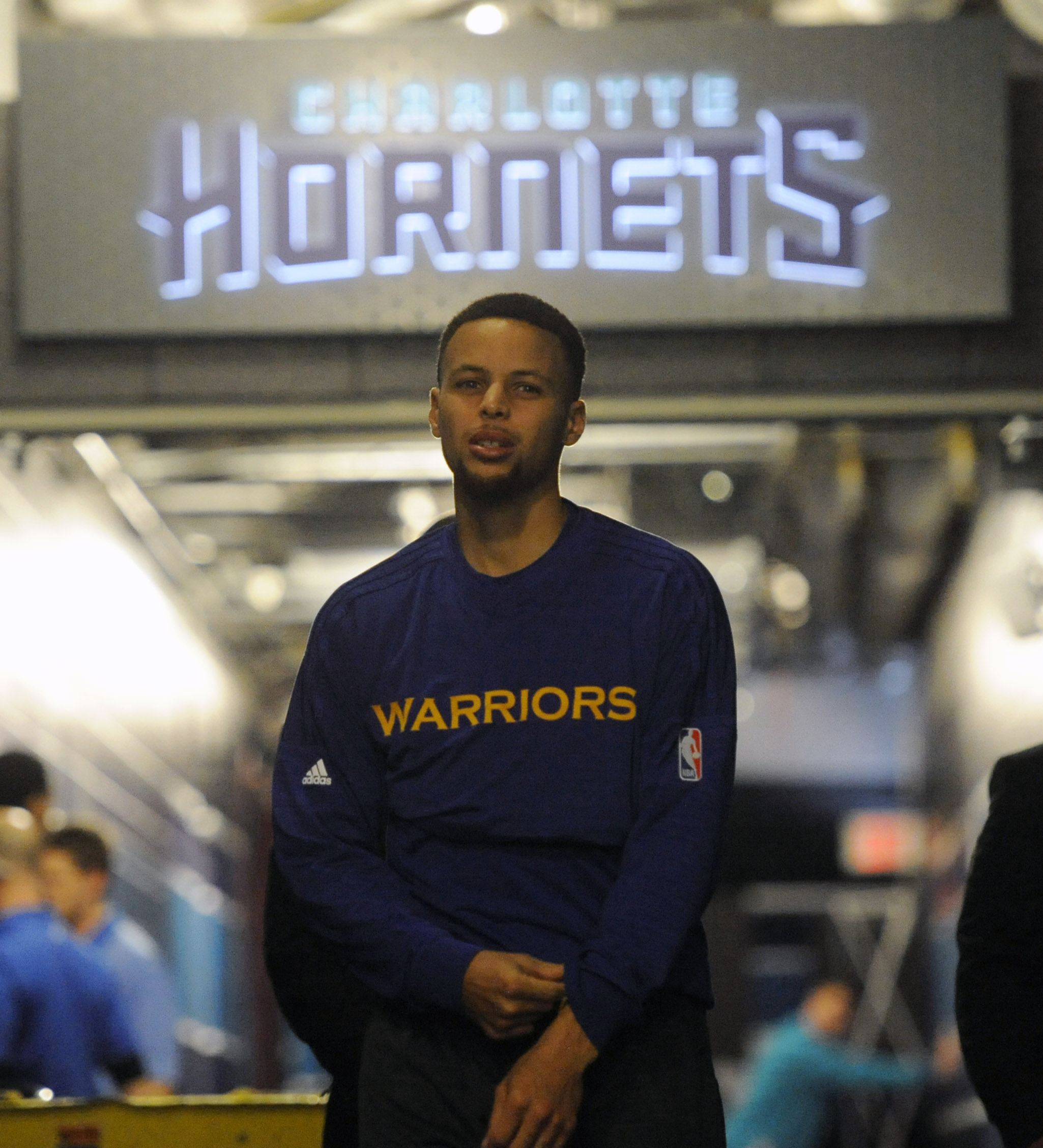 Cropping makes you forget Steph's wearing a Warriors warmup, right?