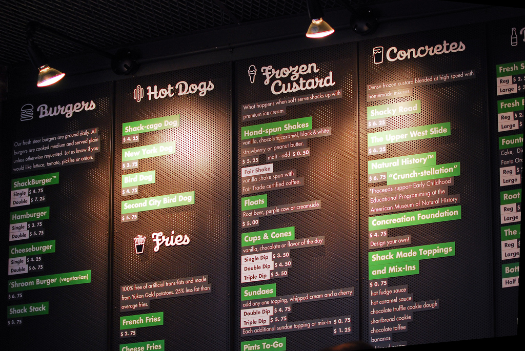 Shake Shack's menu board