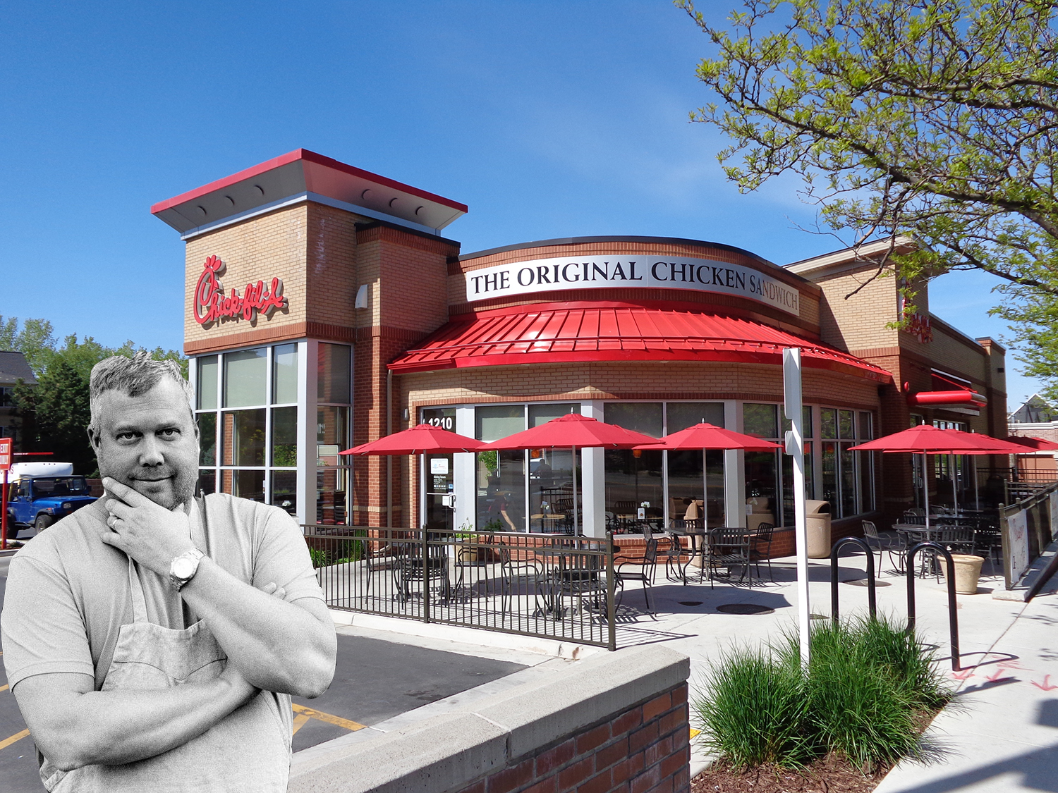 [Chick-fil-A photo: Wikimedia Commons; Ford Fry photo: Emily Schultz]