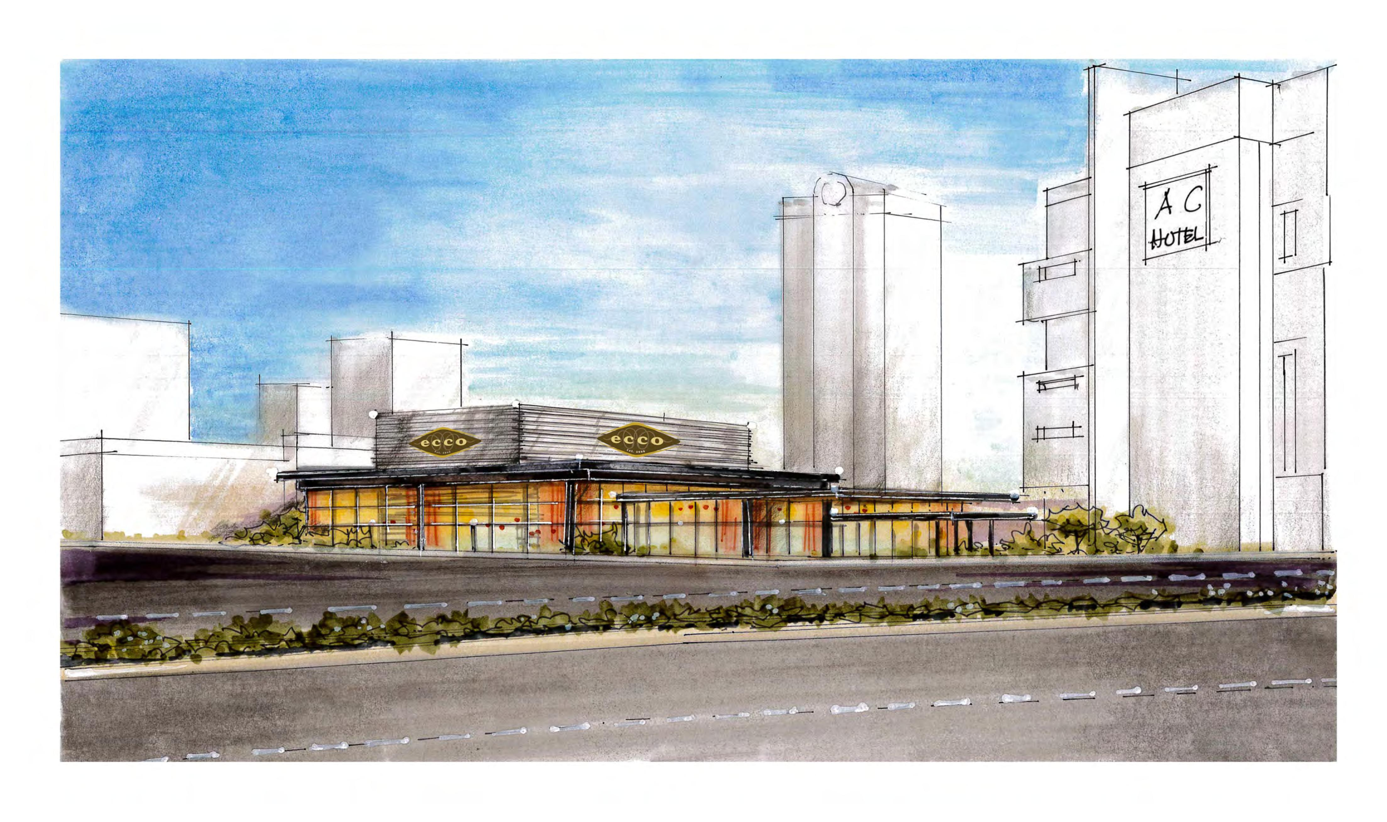 An early rendering of Ecco's Buckhead location.