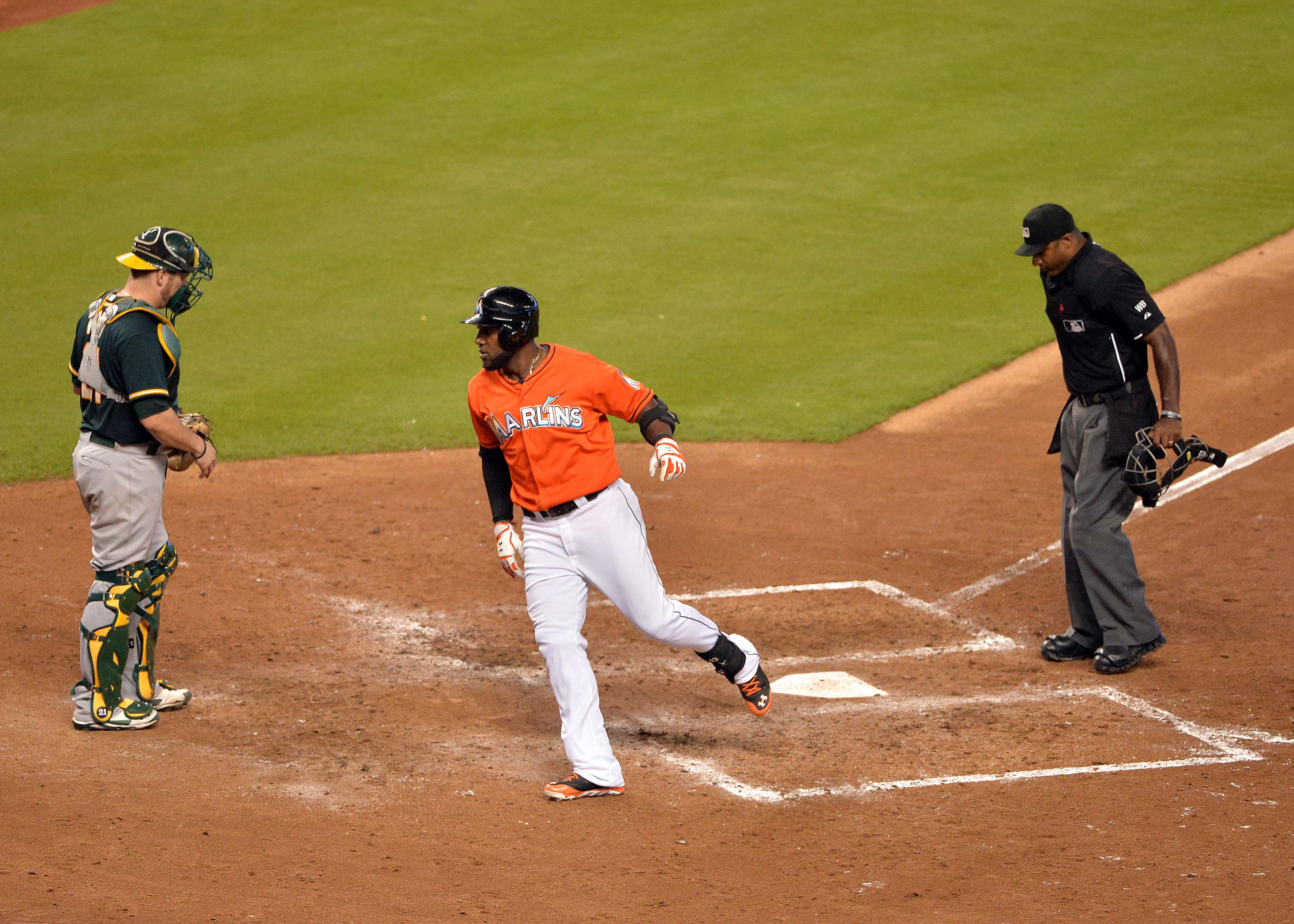Ozuna after striking out against the A's, he definitely did not just hit a dinger.