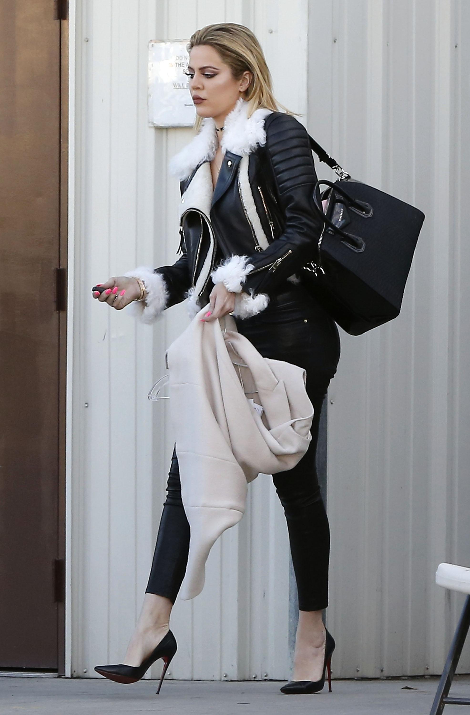 Khloe Kardashian Wears All Black Leather Everything