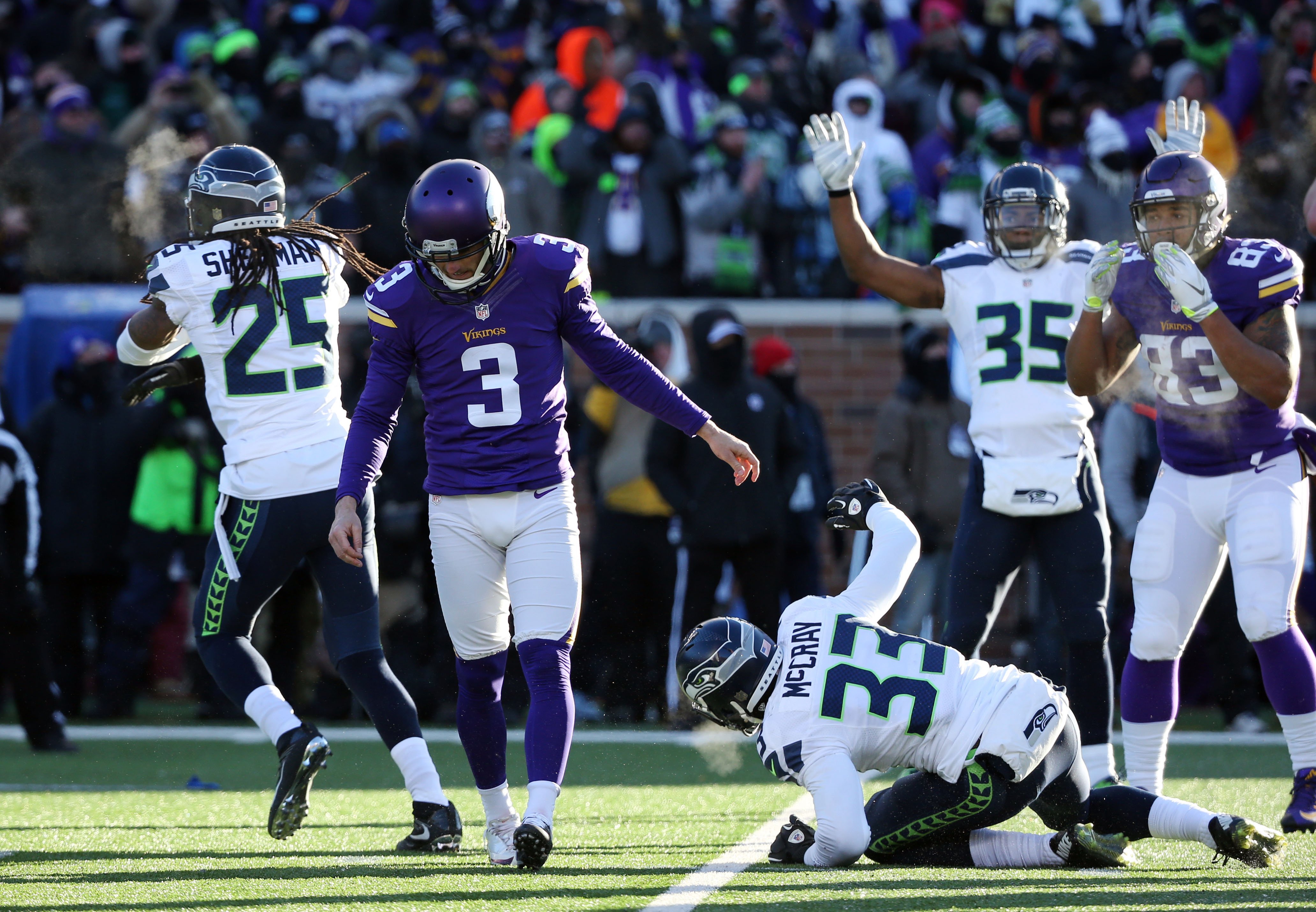 Blair Walsh of the Vikings after he missed the game-winning field goal.