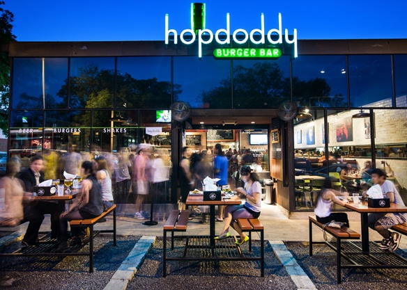 Line at Hopdoddy on South Congress