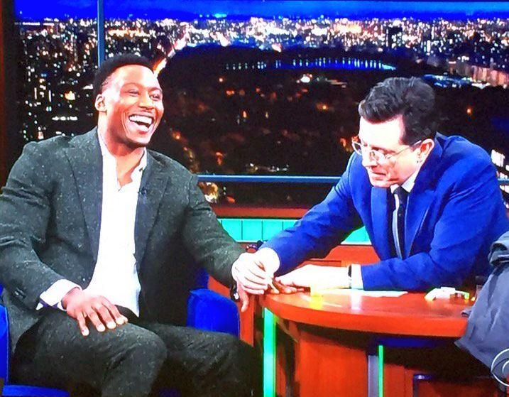 Brandon Marshall with Stephen Colbert