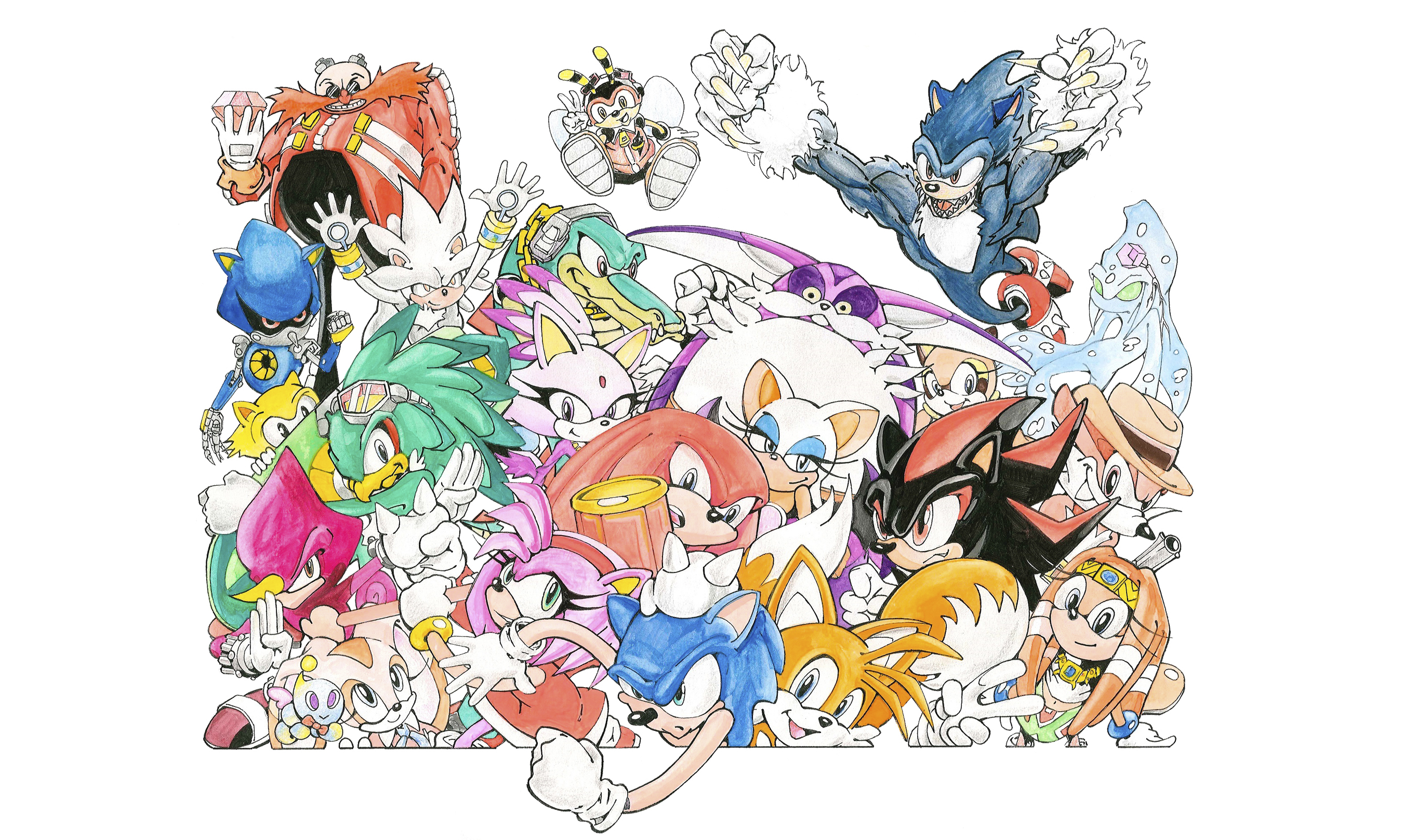 Sonic and friends crowd around one another