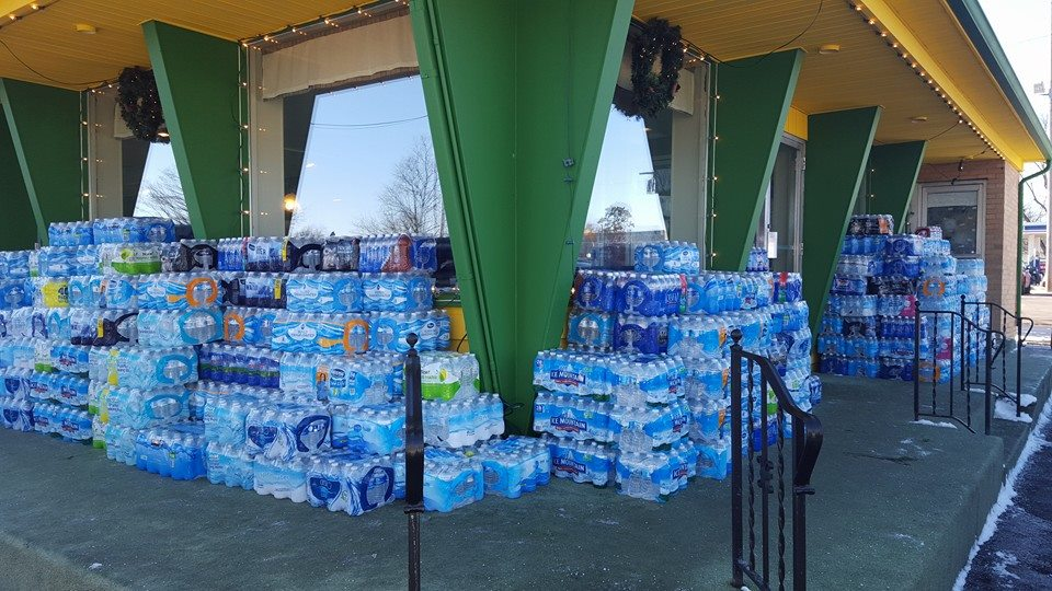 Donated cases of water outside The Skillet Restaurant in South Bend.