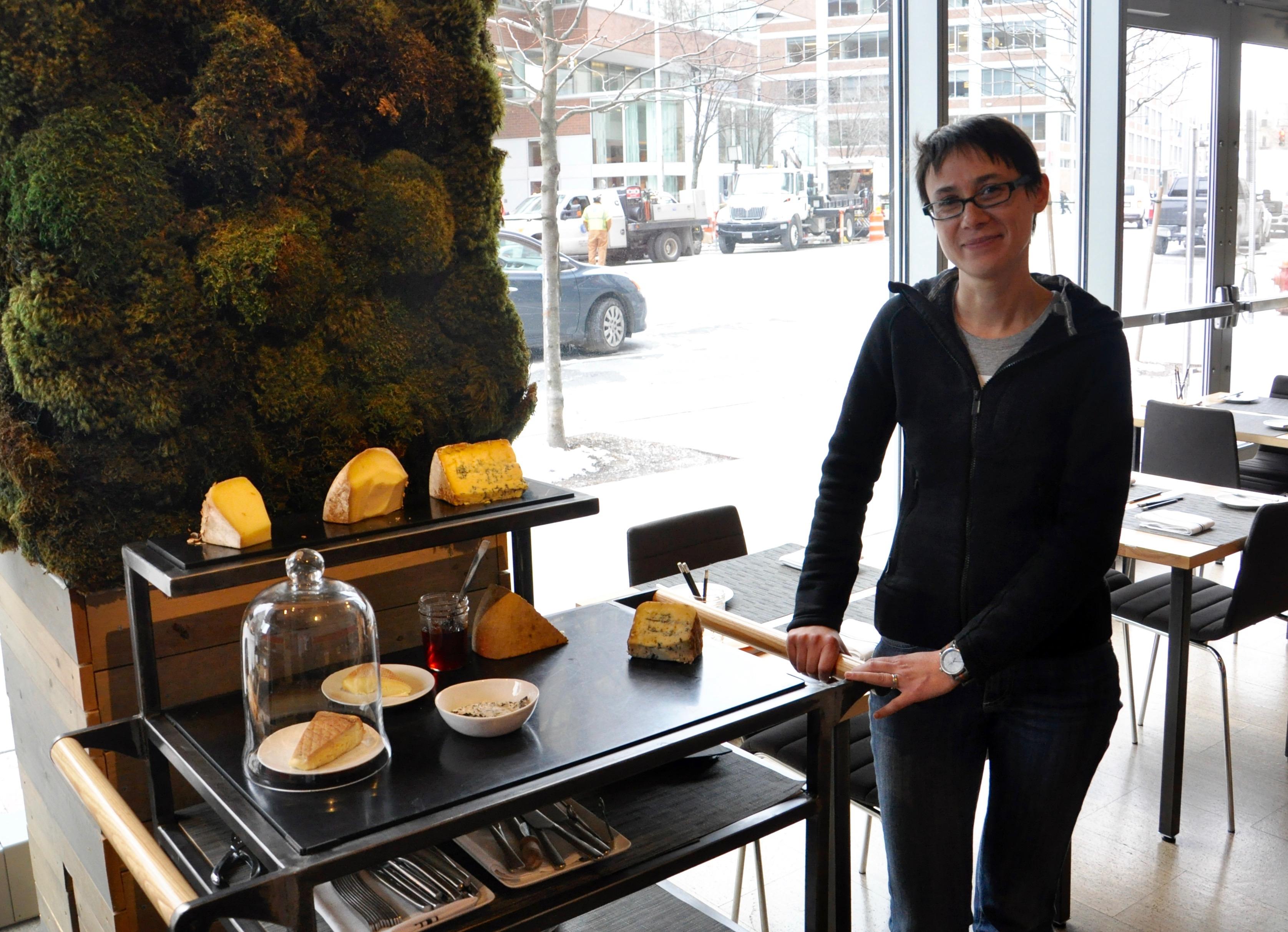 Diana Kudajarova with the cheese cart at Study