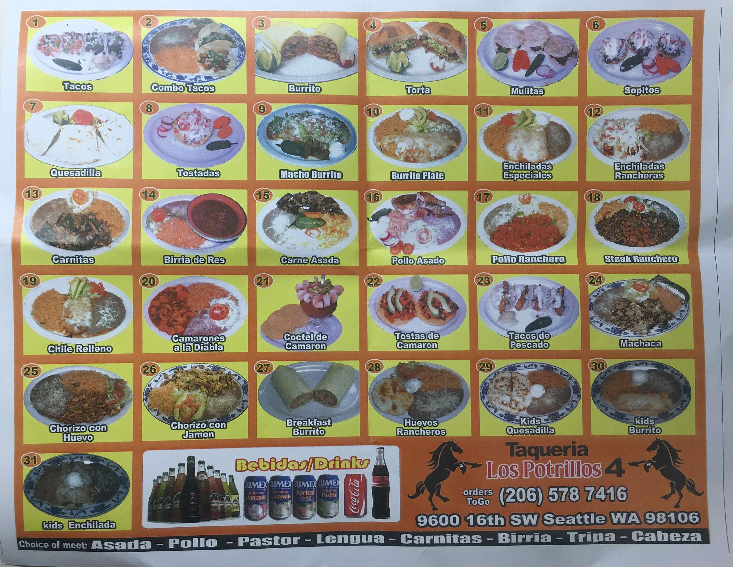 The menu at Taqueria Los Patrillos.