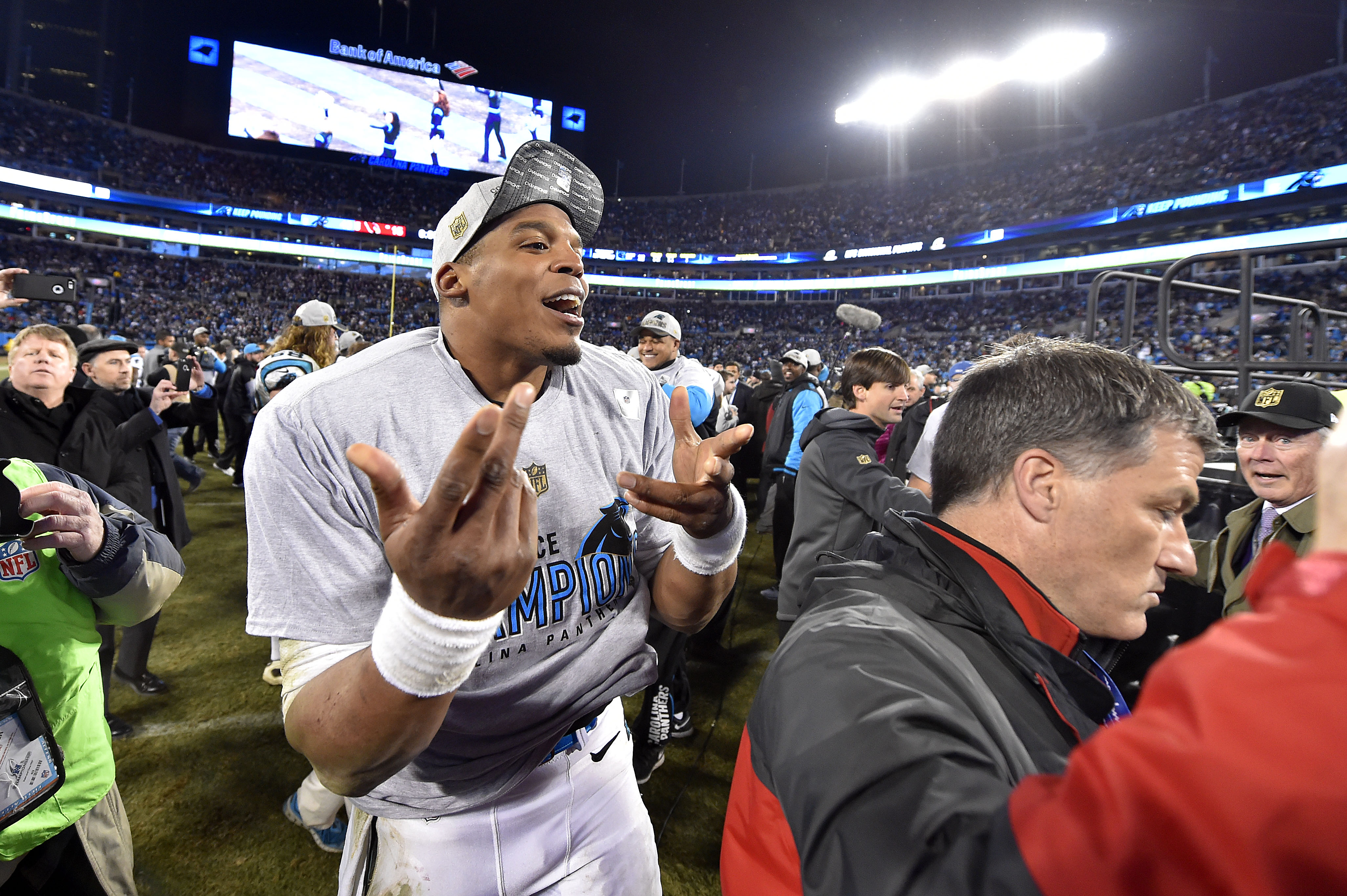 Cam Newton definitely not issuing a gang sign- that would be racist of you to even think that