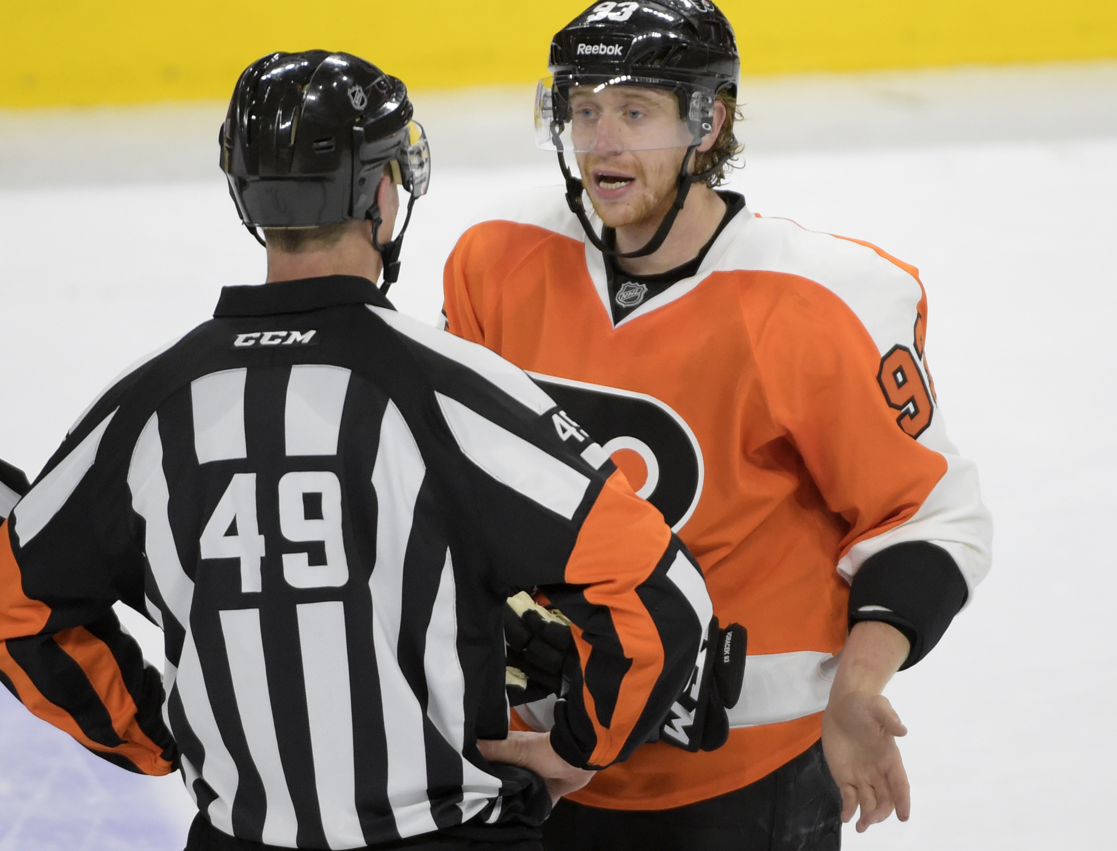 Unlike in this photo, Voracek actually liked the referees' decisions in this play.