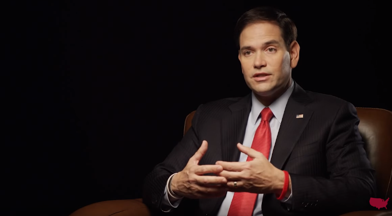 A still from Marco Rubio's video commenting on the Paris attacks, released Saturday.