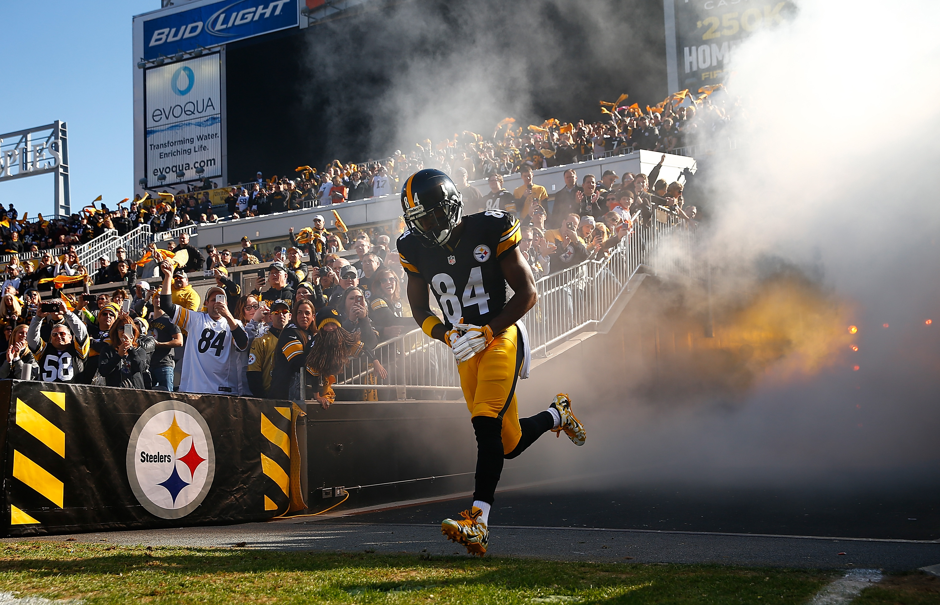 Steelers wideout Antonio Brown, winner of the 2015 NFL.com Fantasy Player of the Year Award, emerges from the tunnel at Heinz field