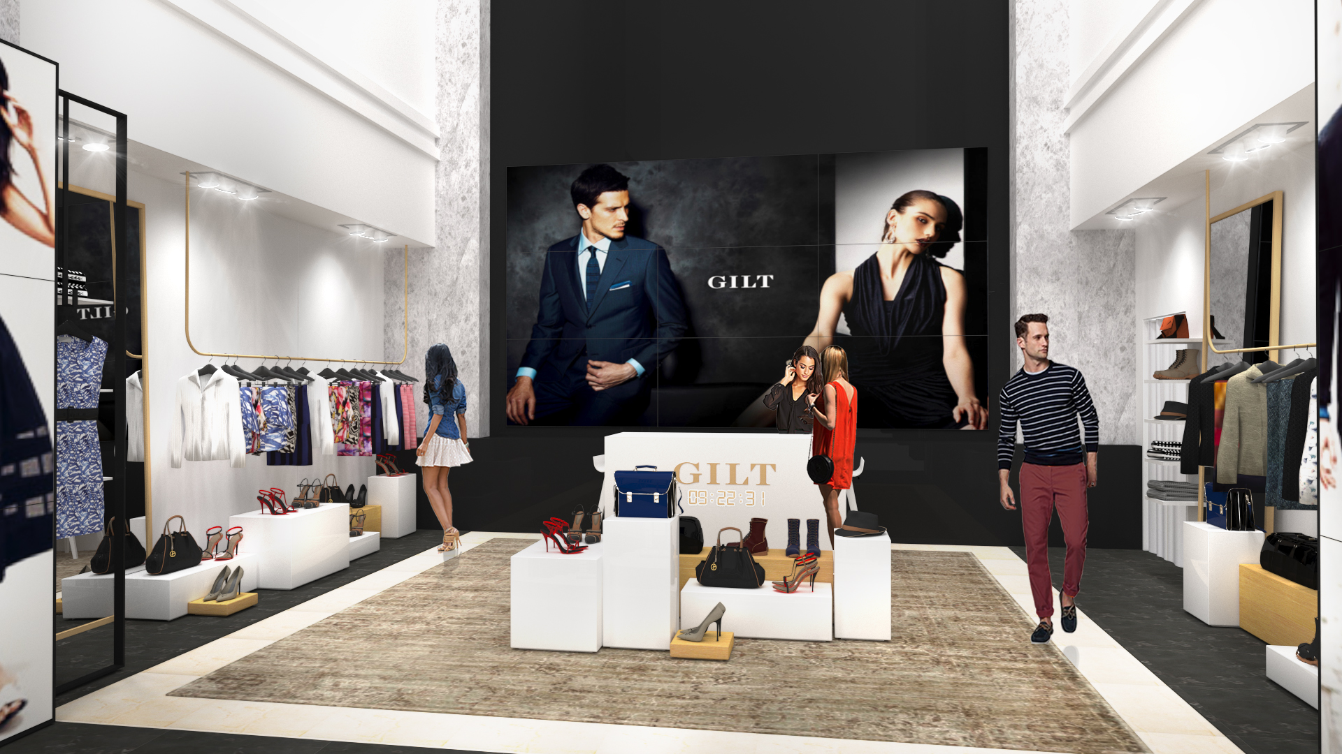 A rendering of Gilt's in-store shop