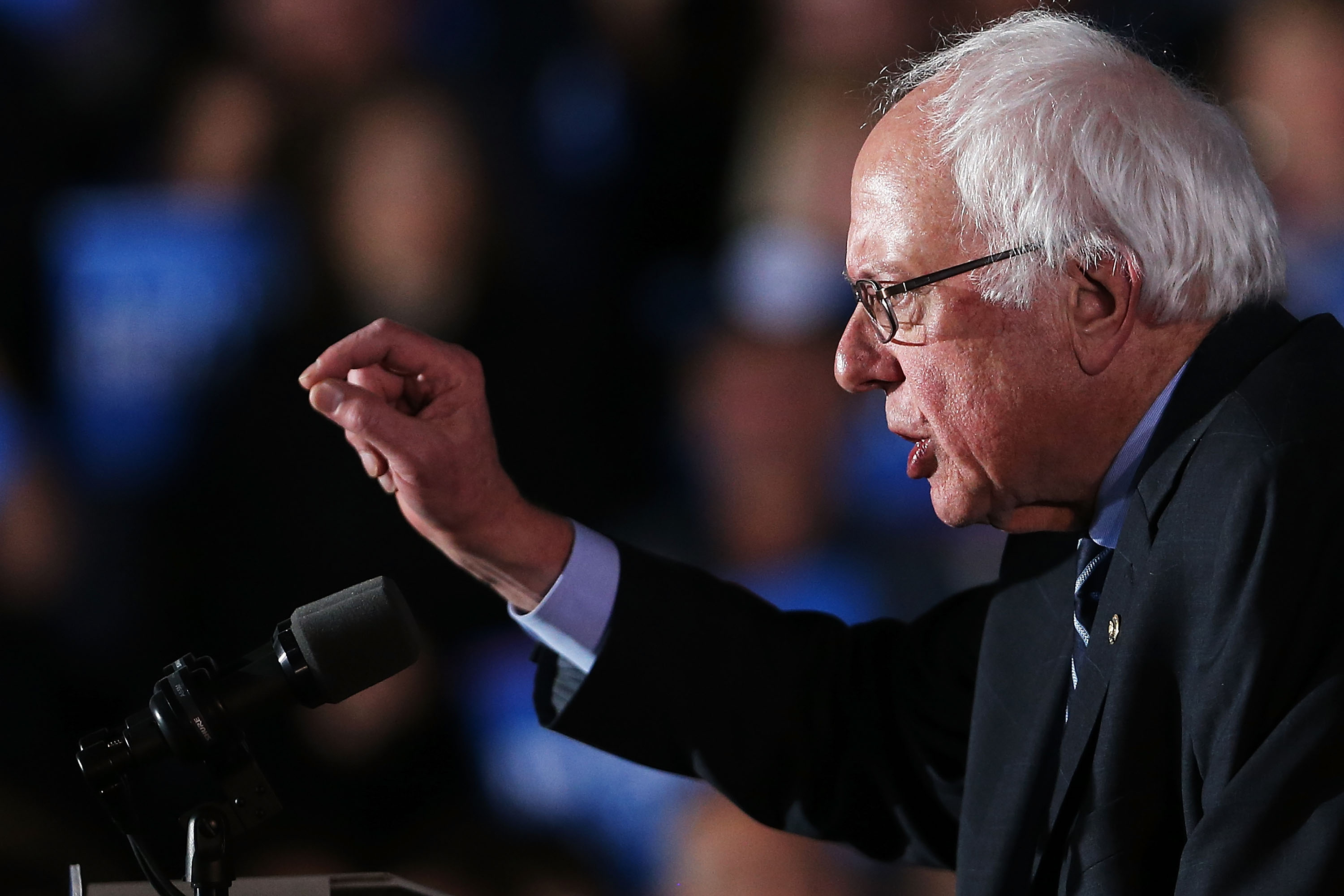 Sen. Bernie Sanders (D-VT) speaks onstage after declaring victory over Hillary Clinton in the New Hampshire on February 9.