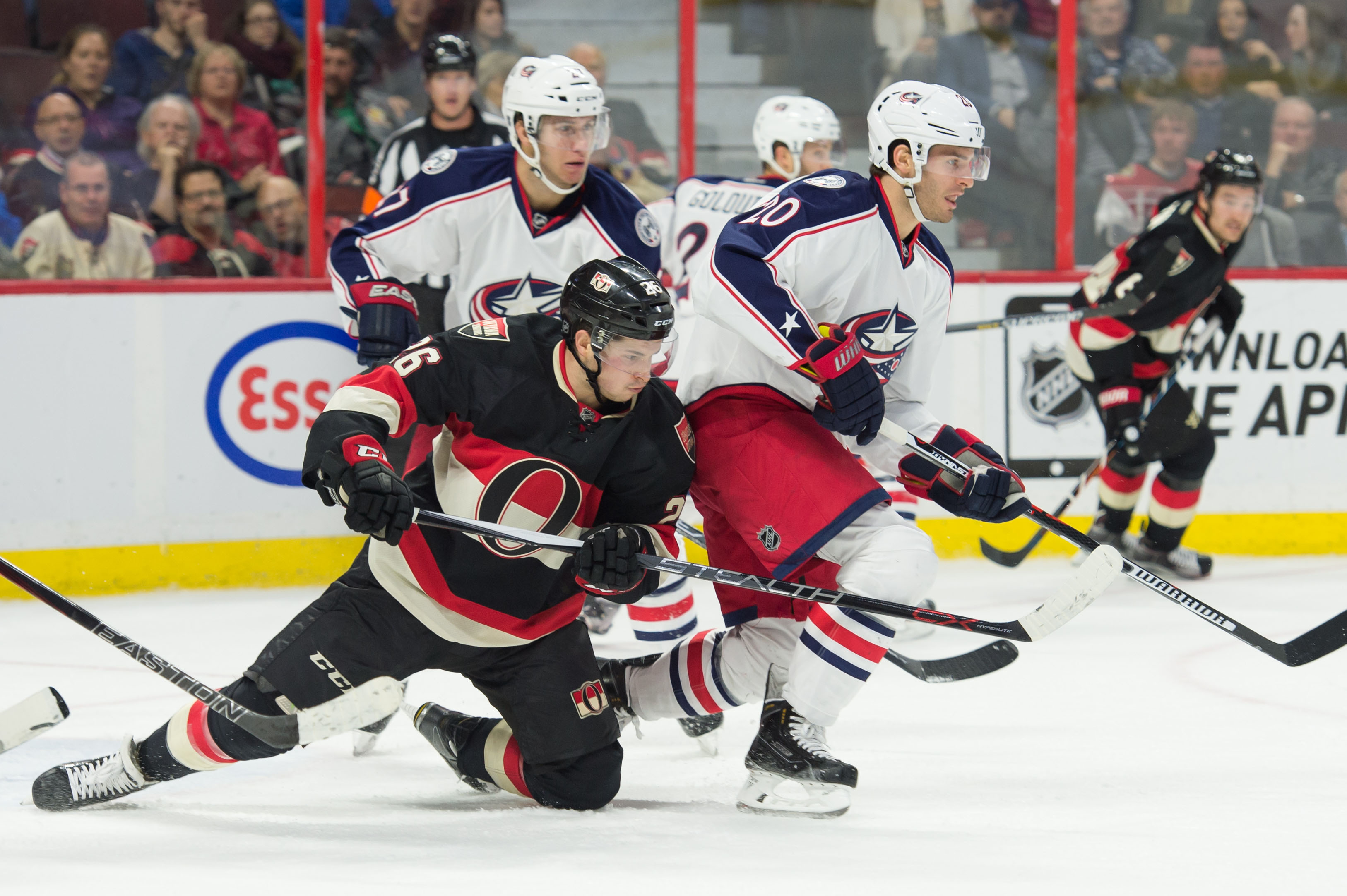 Matt Puempel drops to his knees to give the Blue Jackets a chance to score