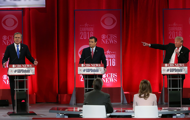 Jeb Bush, Ted Cruz, and Donald Trump at the Republican debate.