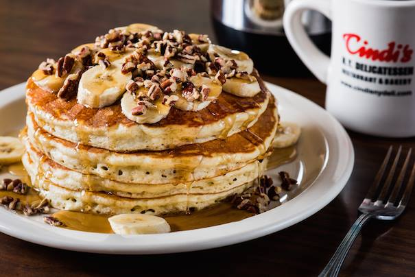 Feast your eyes on Cindi's dreamy banana-nut pancakes.