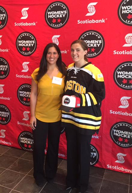 Blades GM Krista Patronick at last year's draft with her first round pick, Kristina Brown.