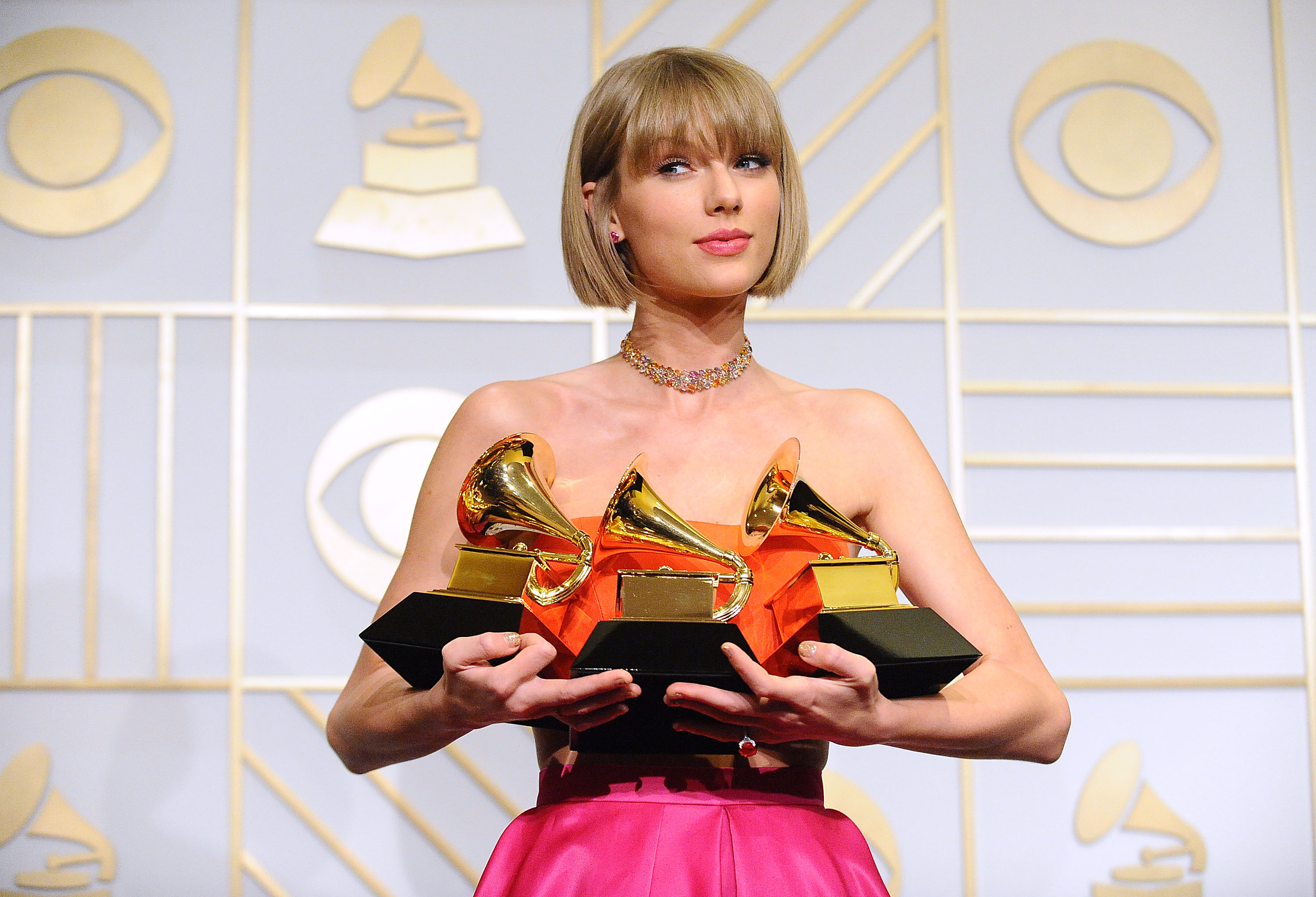 Recording artist Taylor Swift at the 58th Annual Grammy Awards on February 15, 2016, at the Staples Center in Los Angeles, California.