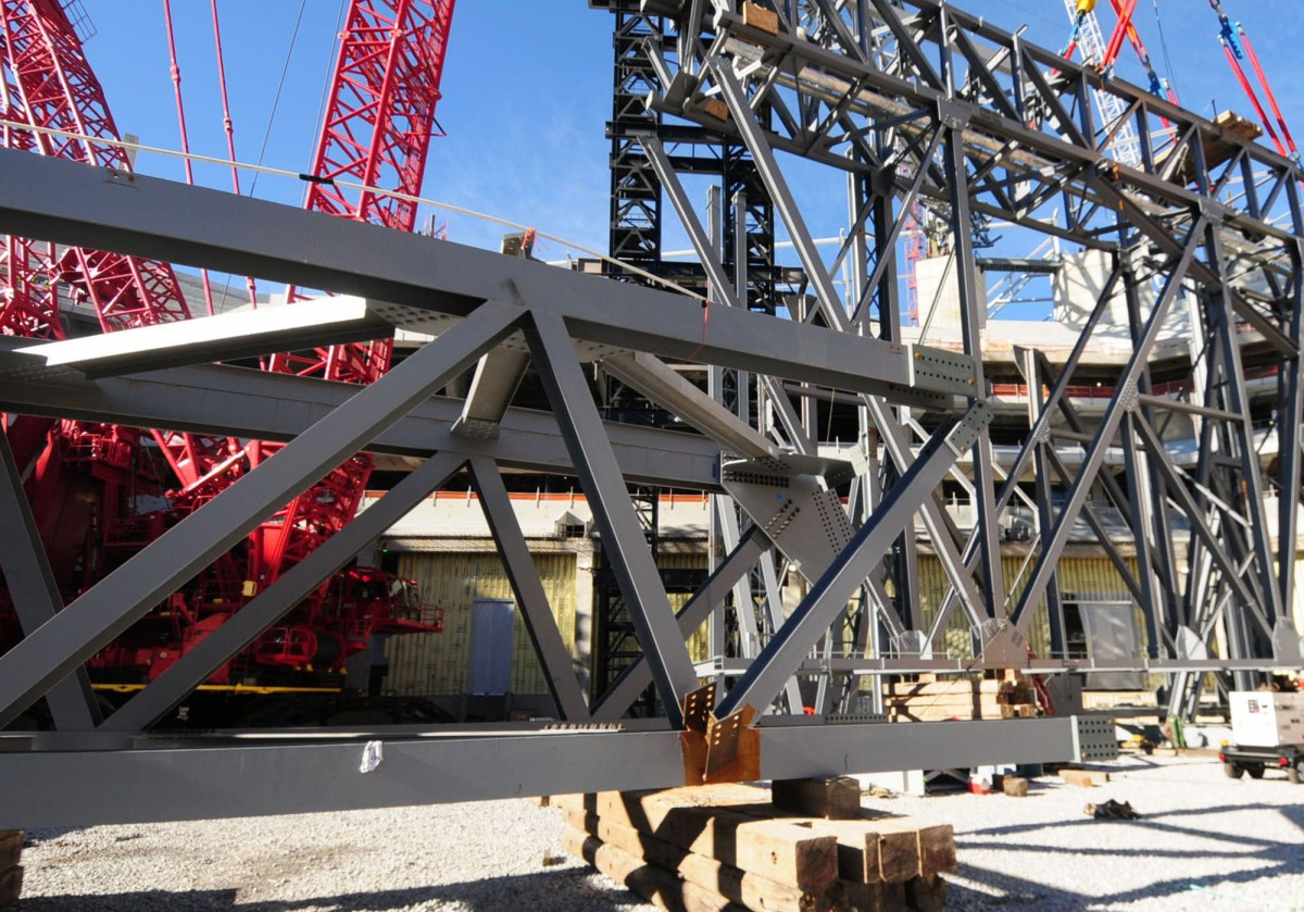 Mega-sized steel beams at Mercedes-Benz Stadium.