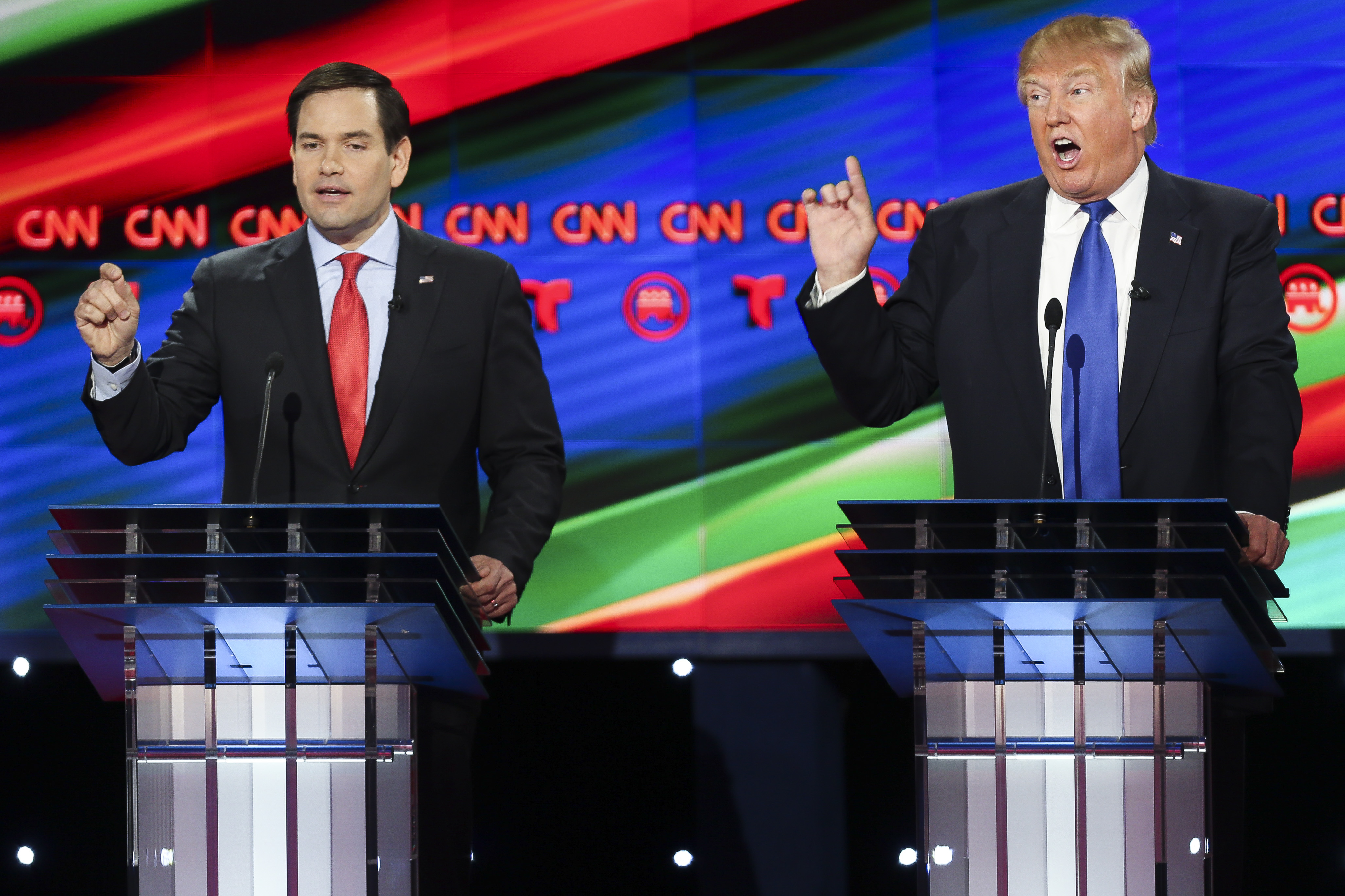 Marco Rubio faces off with Donald Trump.