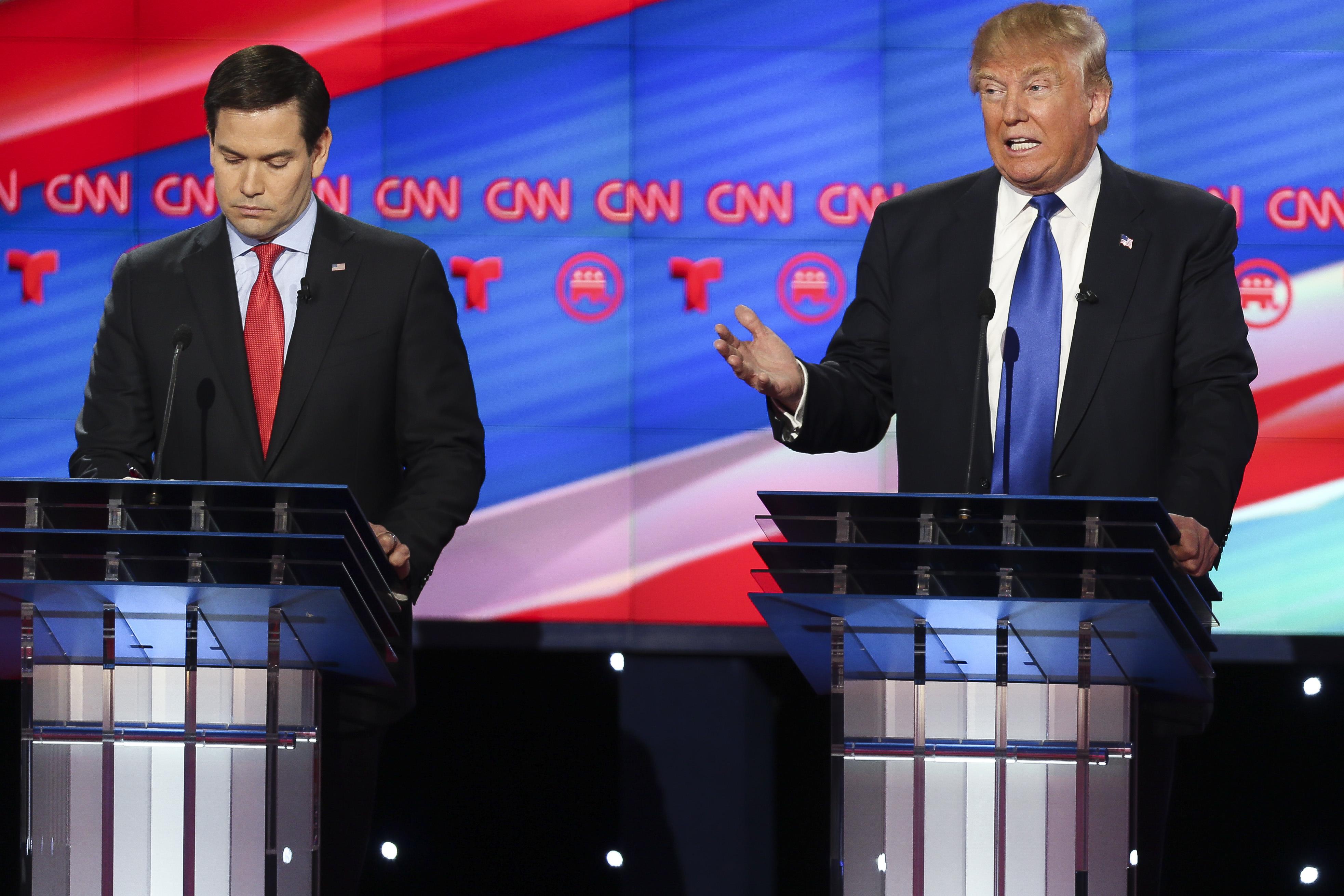 Donald Trump and Marco Rubio at the Republican debate.