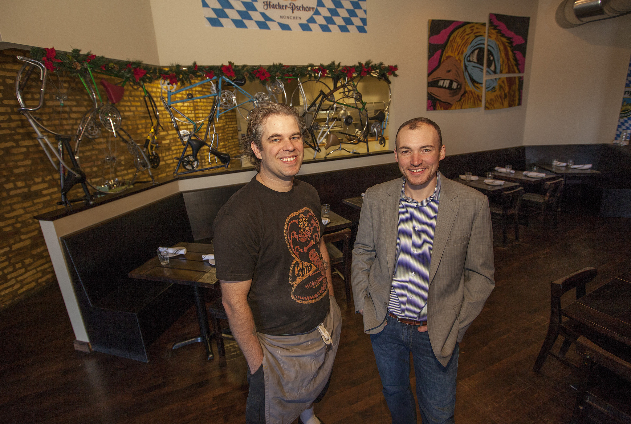 The Radler chef and owner in front of tables that are now gone