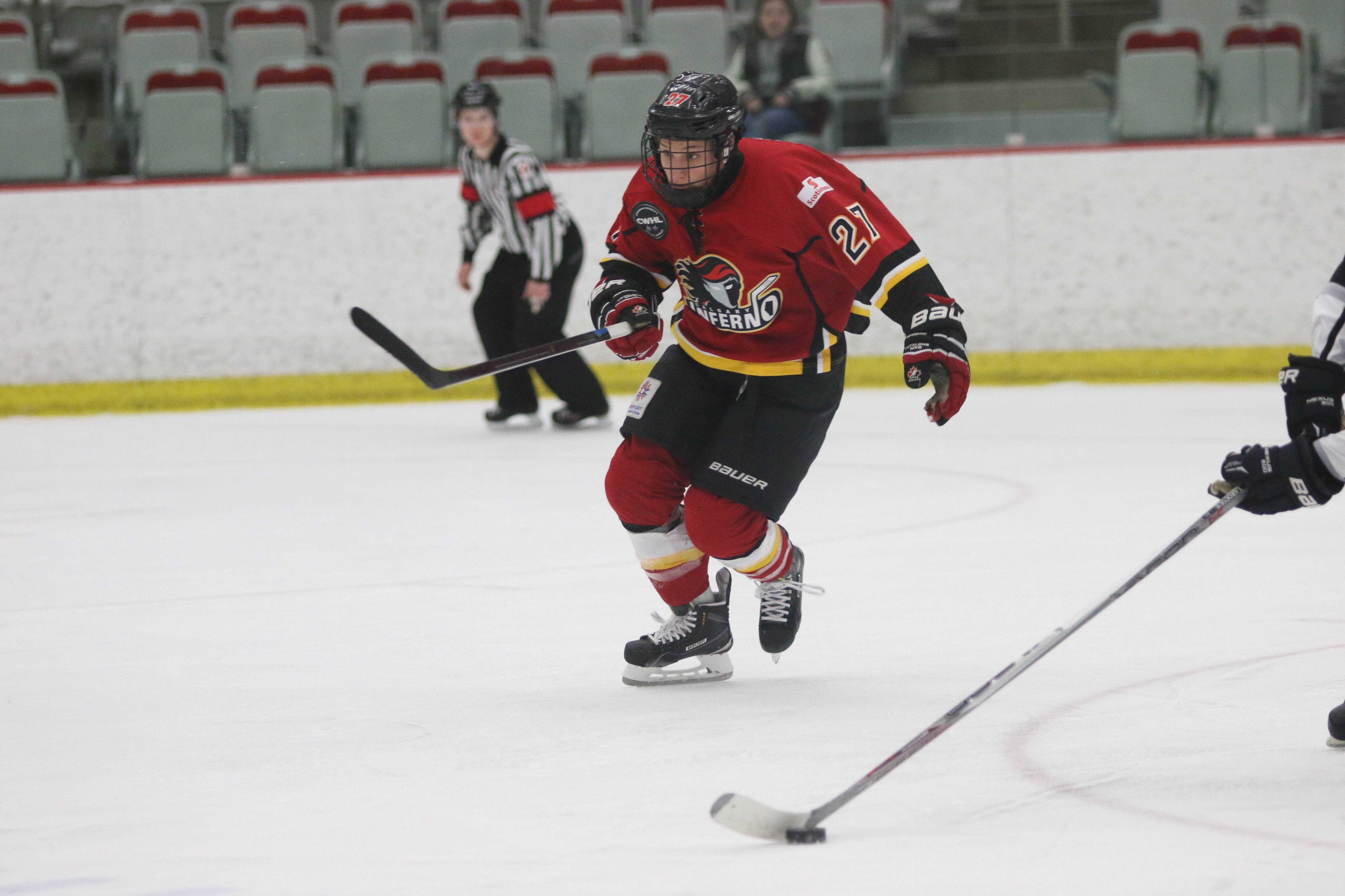 Jillian Saulnier earned first star of the game for her effort, including a goal, Friday night in the Inferno's first-ever Clarkson Cup playoff win.